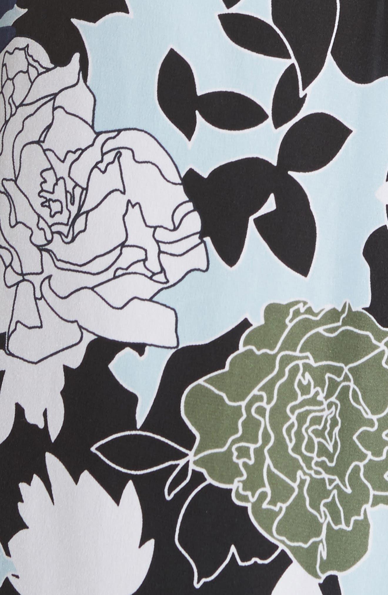Daphne Floral Silk Shirt,                             Alternate thumbnail 5, color,                             COOL BREEZE MULTI