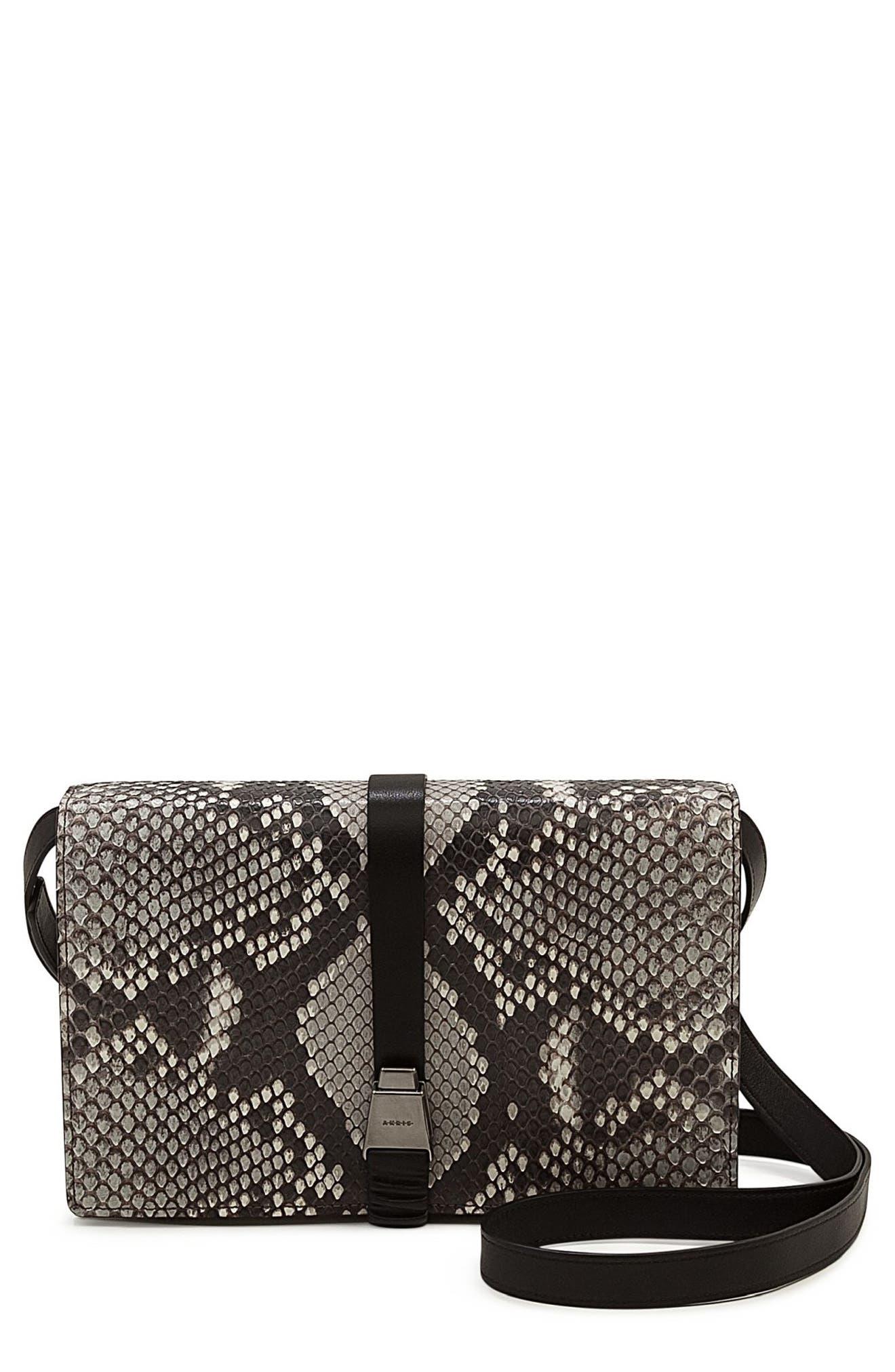 Alice Genuine Python Crossbody Bag,                             Main thumbnail 1, color,