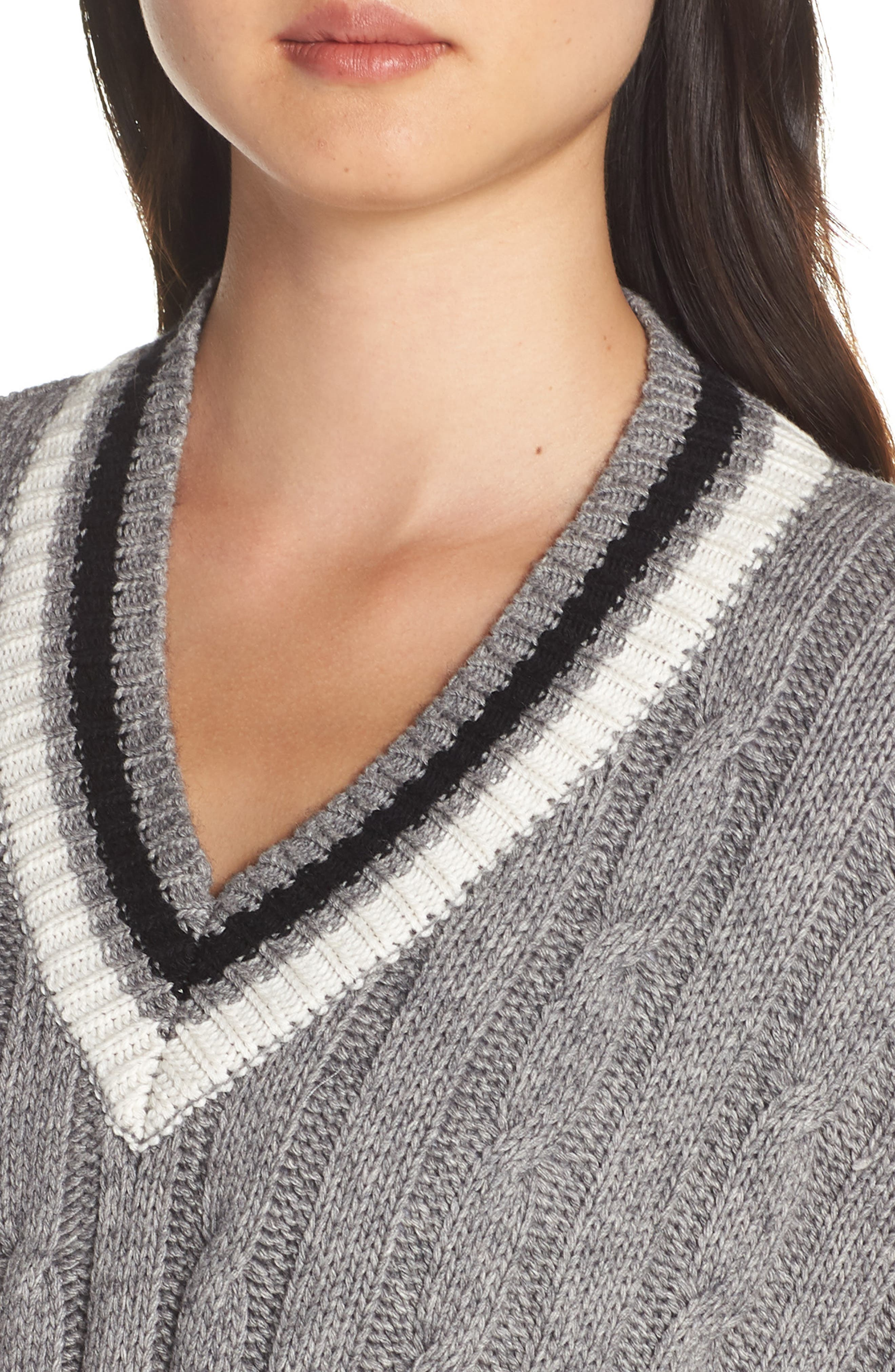 Weslynn Poncho Sweater,                             Alternate thumbnail 4, color,                             GREY HEATHER
