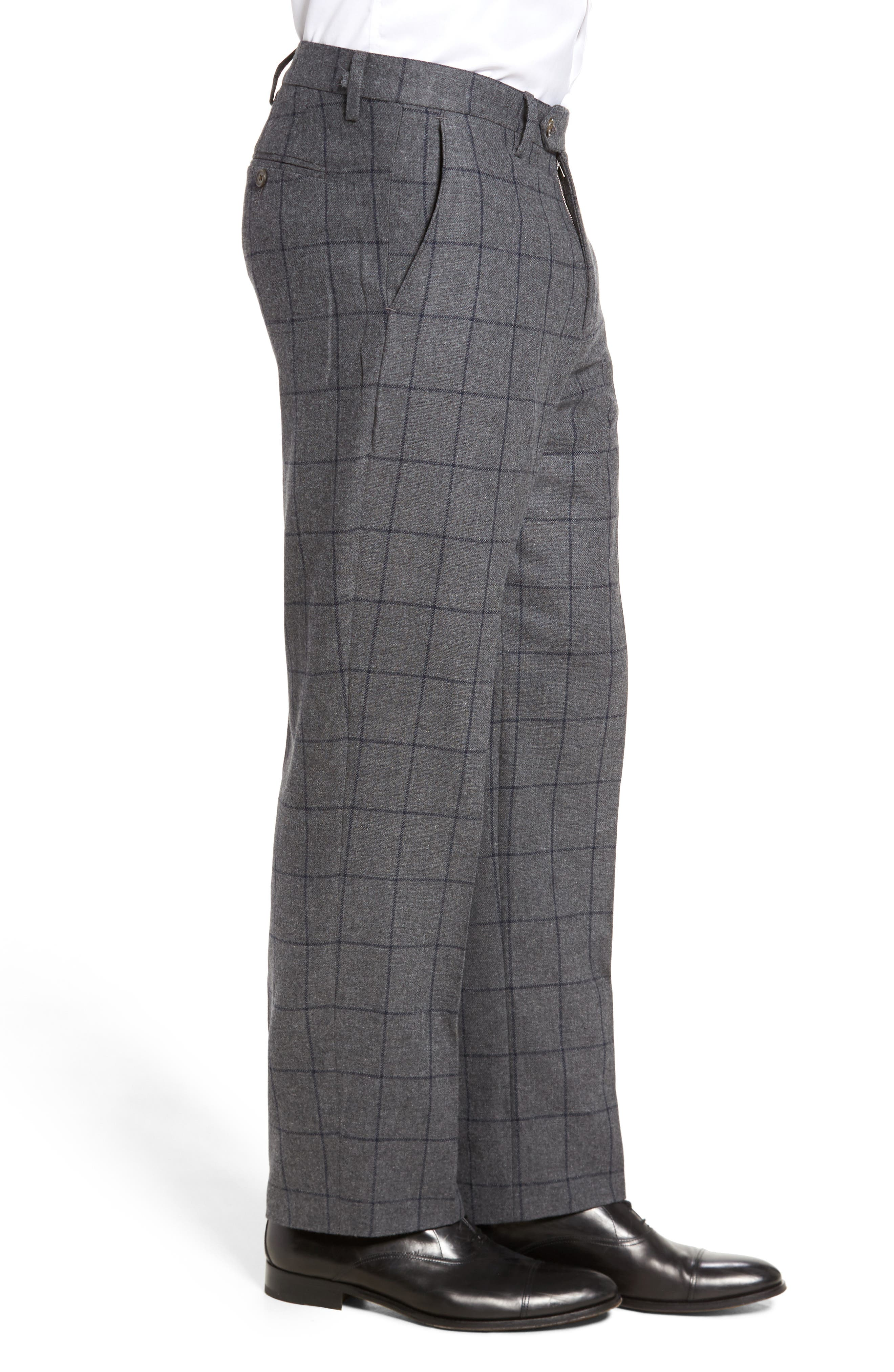 Flat Front Windowpane Wool Blend Trousers,                             Alternate thumbnail 4, color,                             030