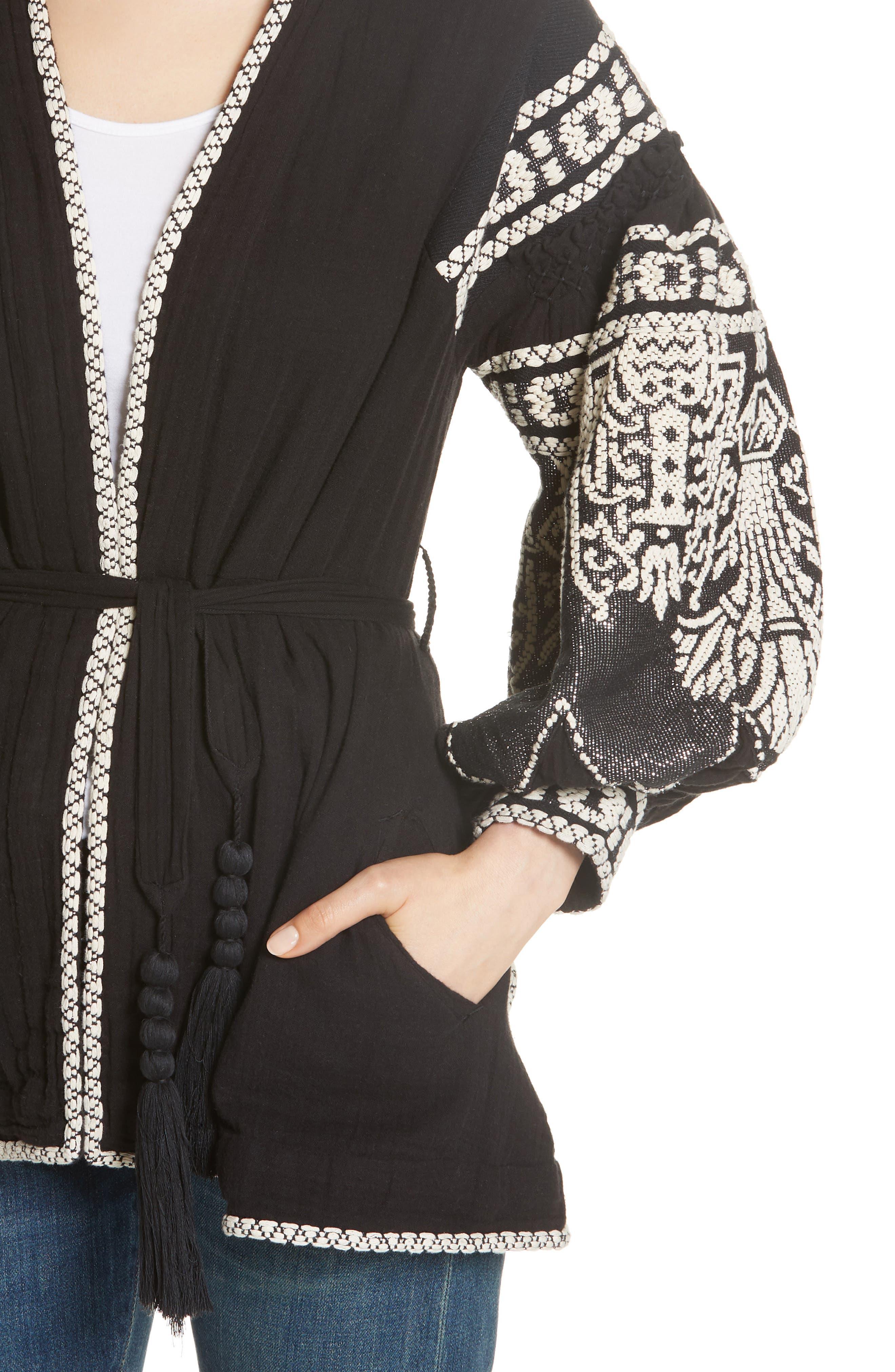 Petrushka Embroidered Jacket,                             Alternate thumbnail 4, color,                             BLACK