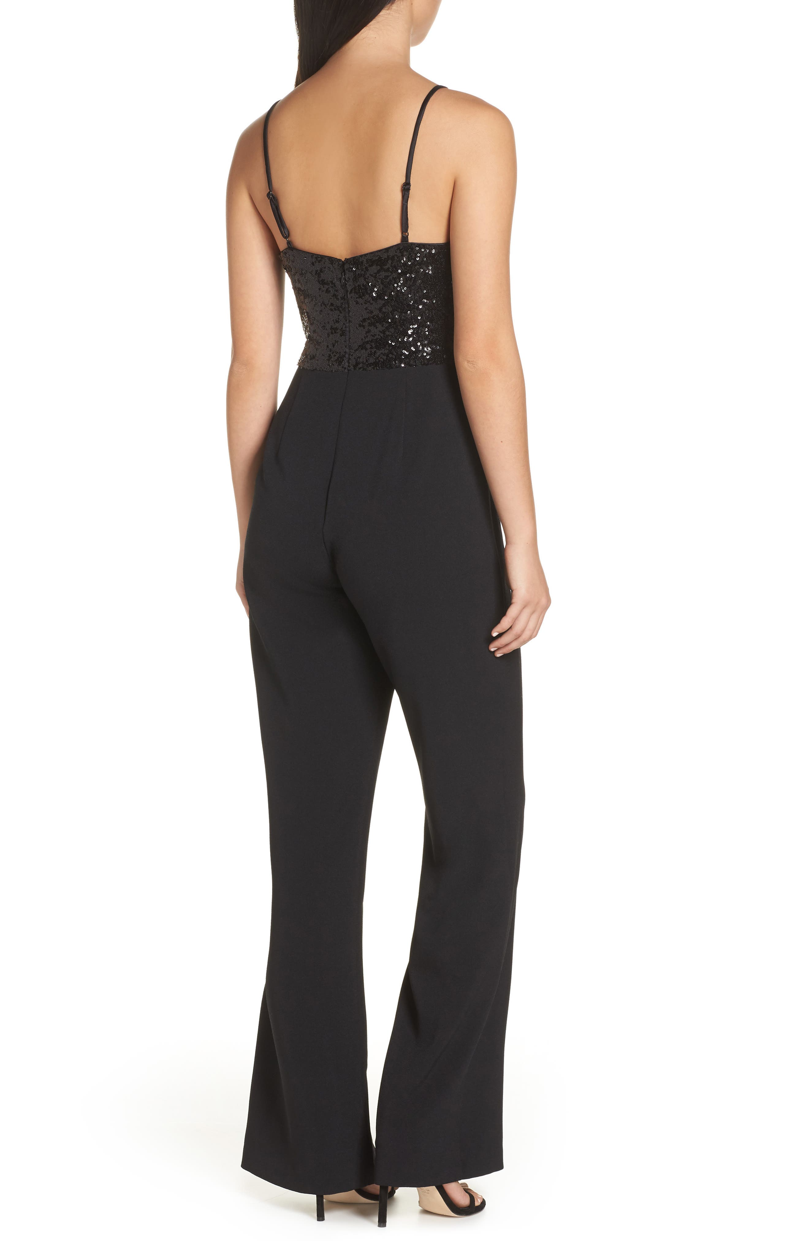 Sequin Embellished Jumpsuit,                             Alternate thumbnail 2, color,                             BLACK