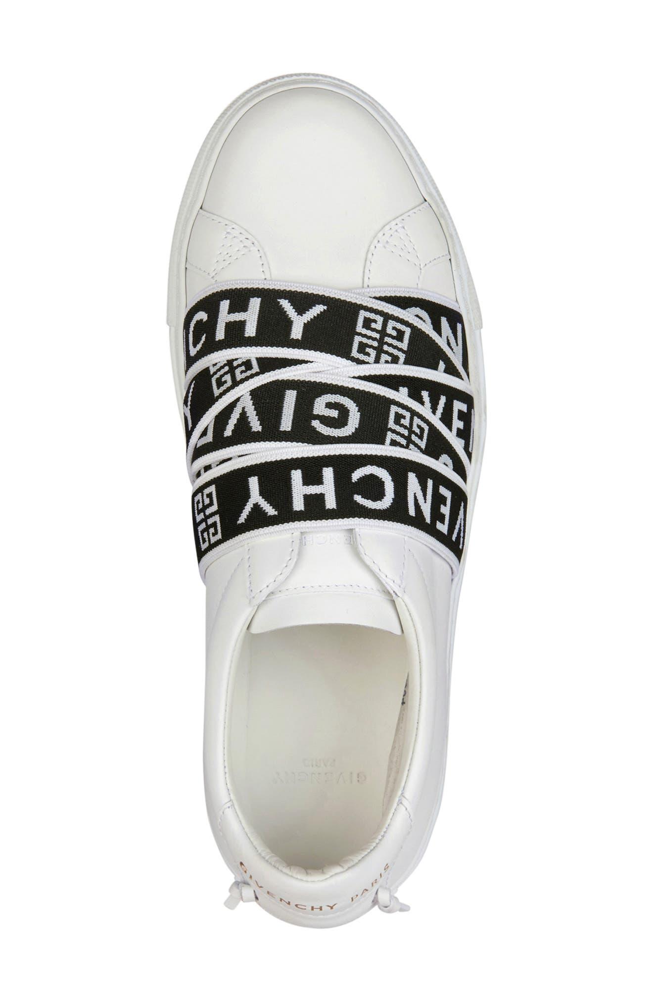 GIVENCHY,                             Urban Street Logo Strap Sneaker,                             Alternate thumbnail 4, color,                             WHITE/ BLACK