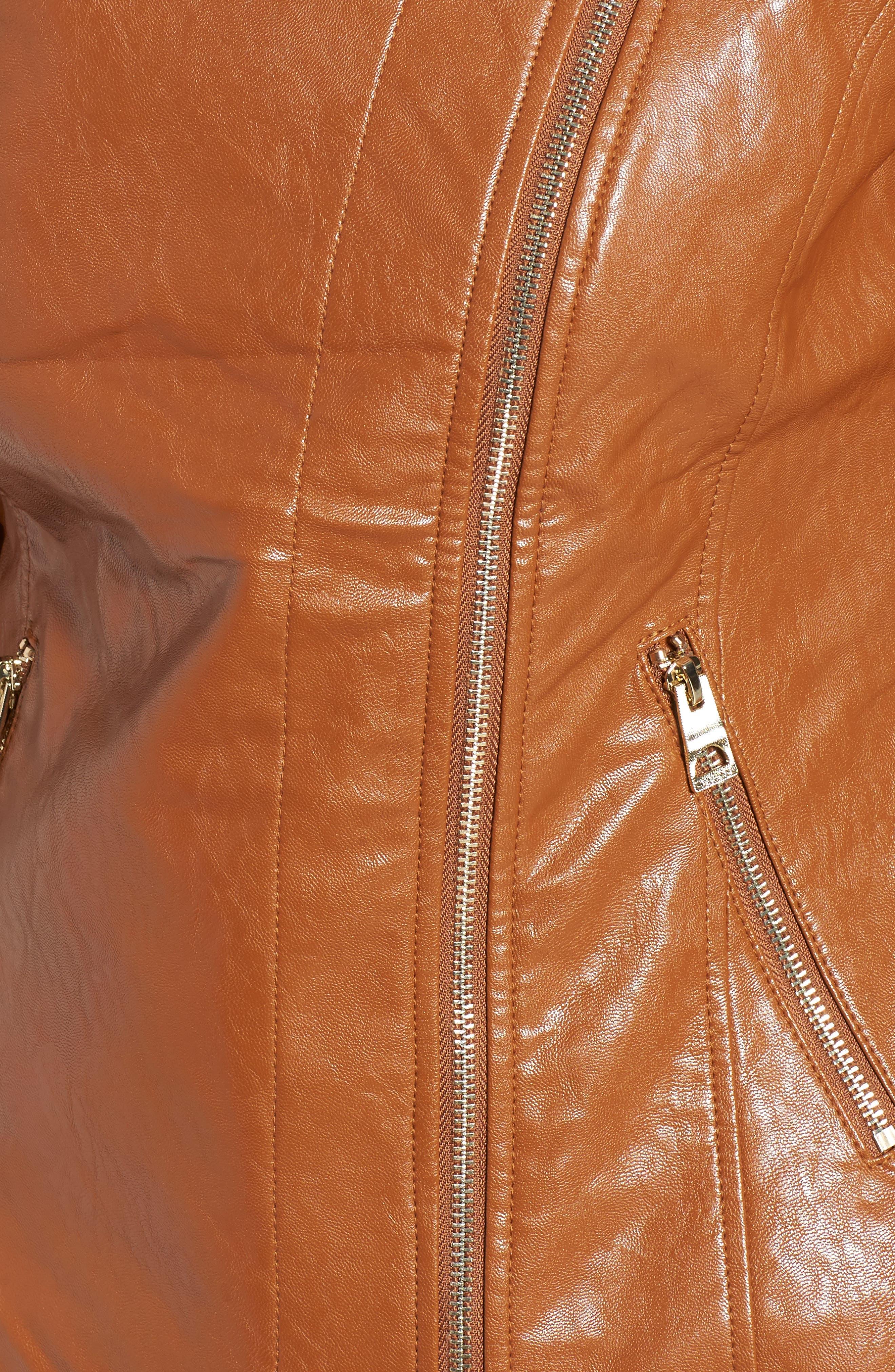 Asymmetrical Faux Leather Jacket,                             Alternate thumbnail 5, color,                             239