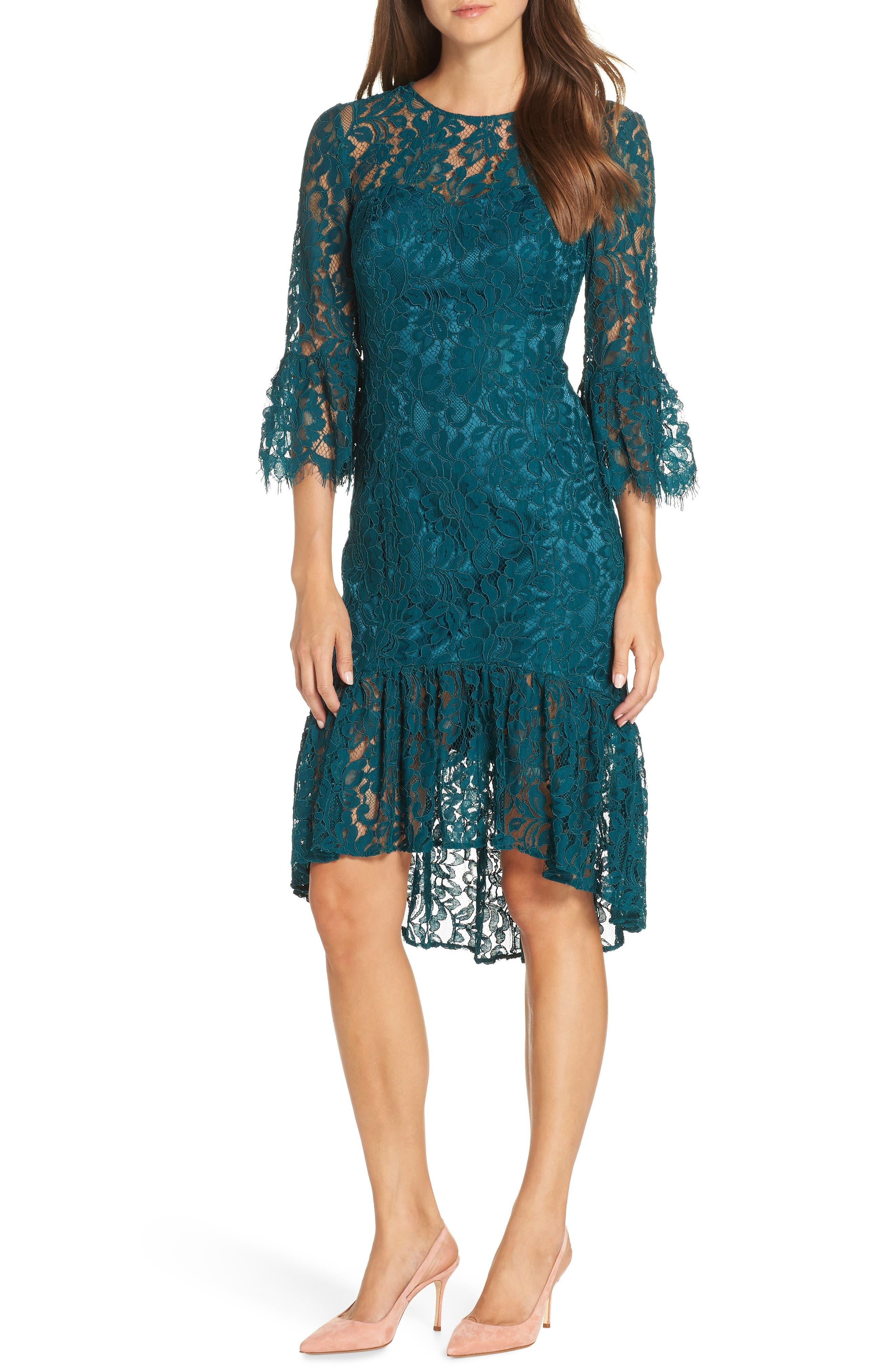 Eliza J High/low Bell Cuff Lace Dress, Blue