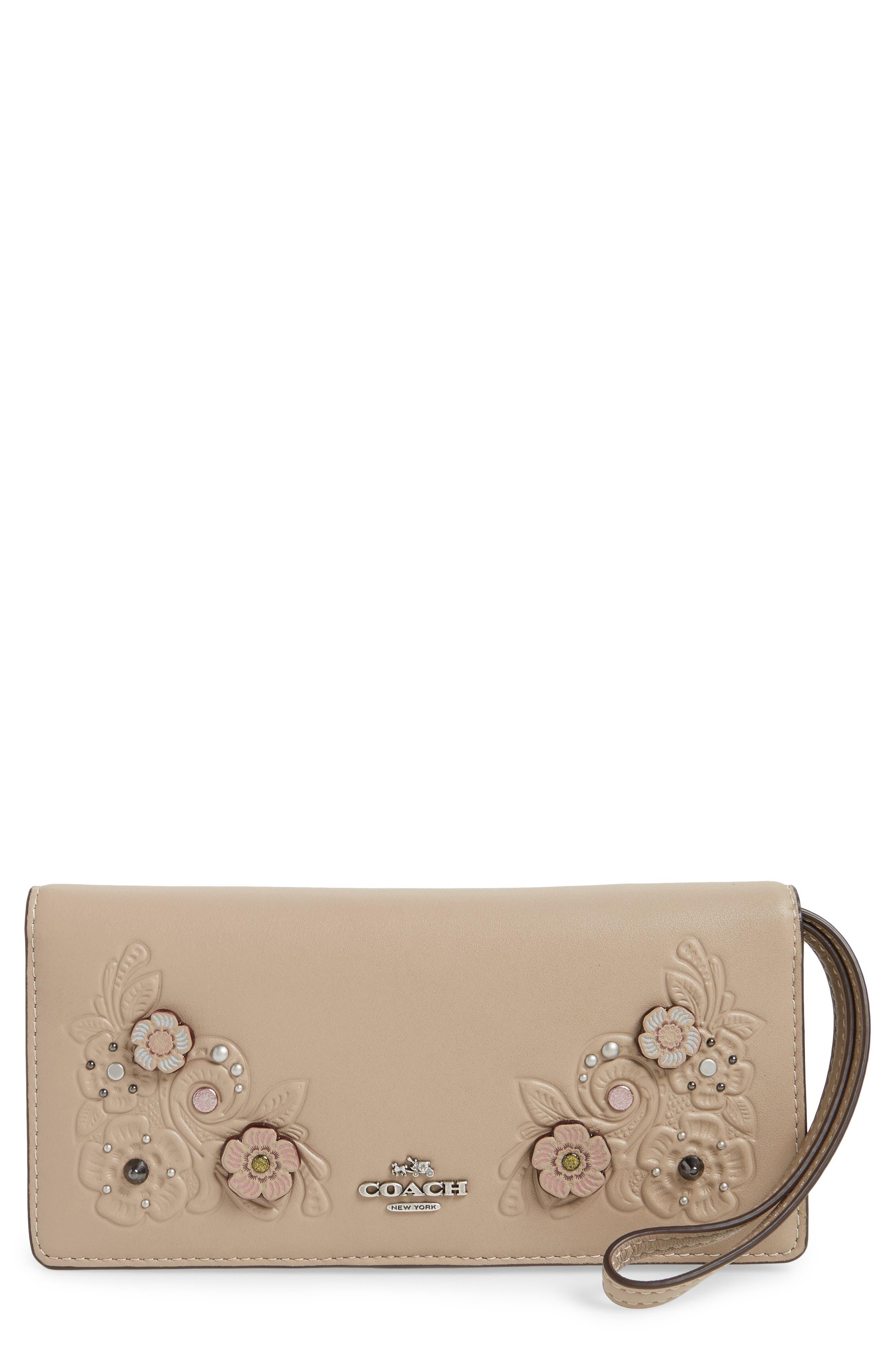 Slim Tea Rose Calfskin Leather Wristlet,                         Main,                         color, 020