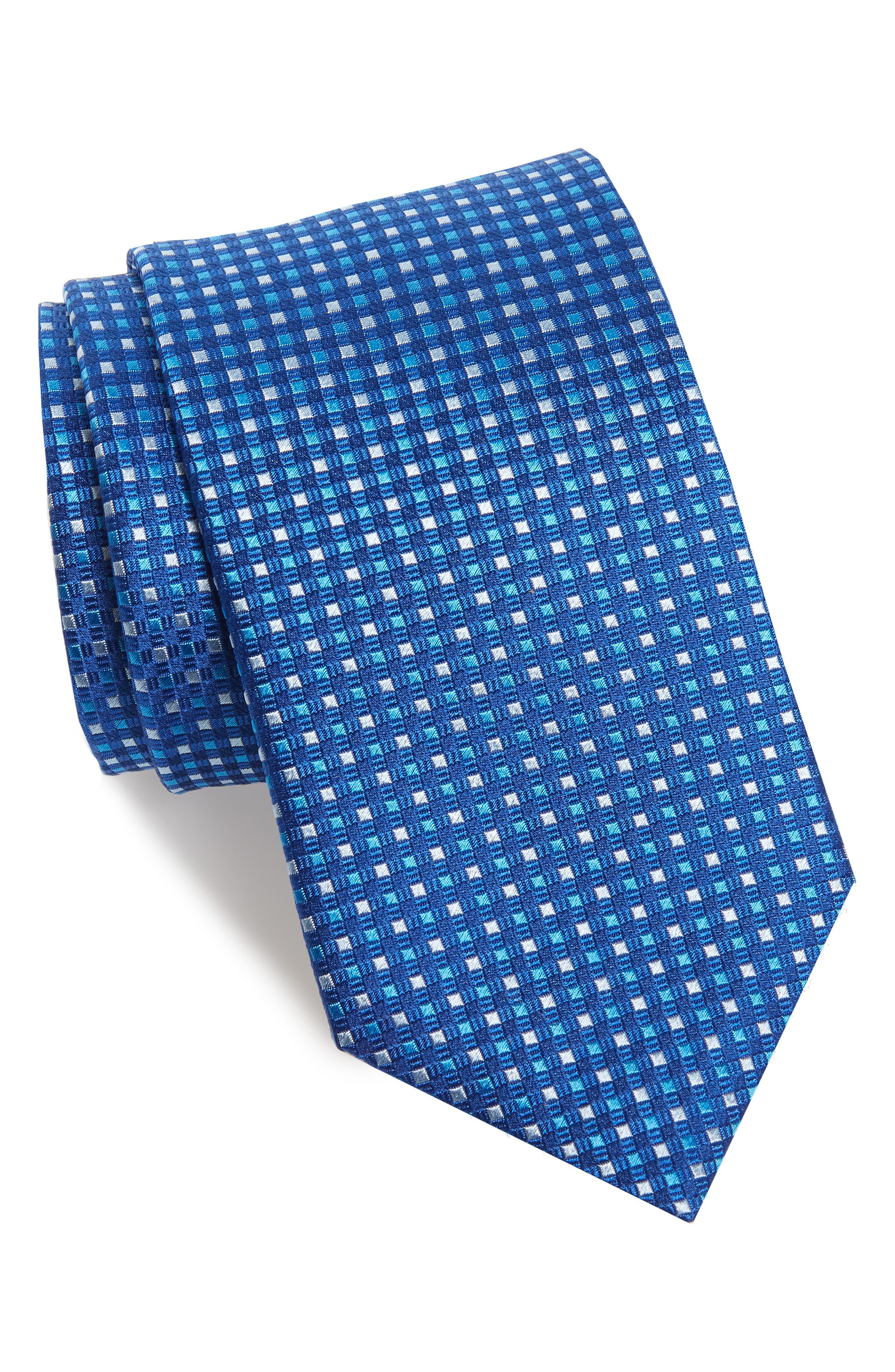 Check Silk Tie,                         Main,                         color, BLUE