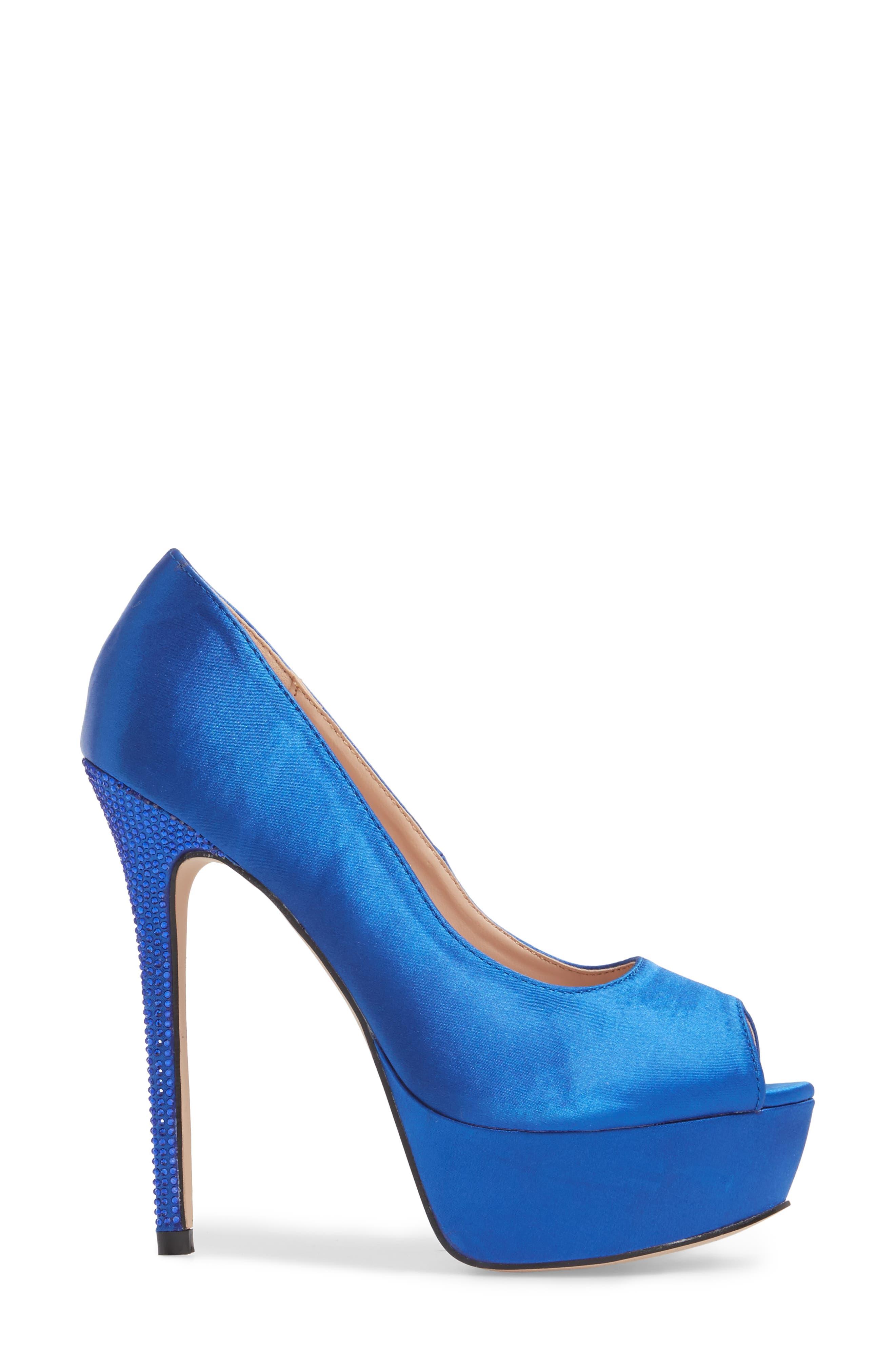 Peep Toe Platform Pump,                             Alternate thumbnail 3, color,                             ROYAL BLUE SATIN