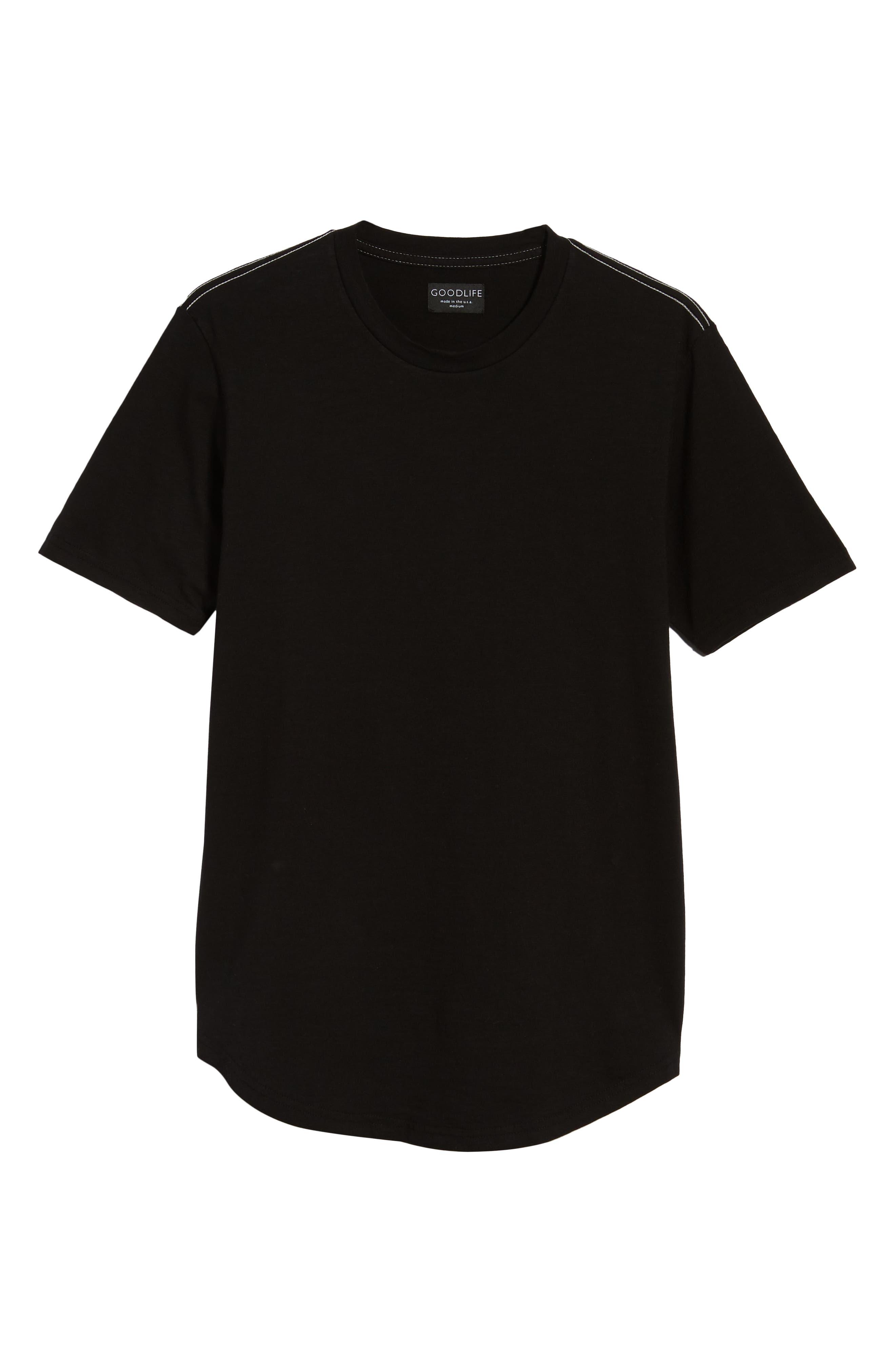 Scallop Hem Slub Crewneck T-Shirt,                             Alternate thumbnail 6, color,                             001