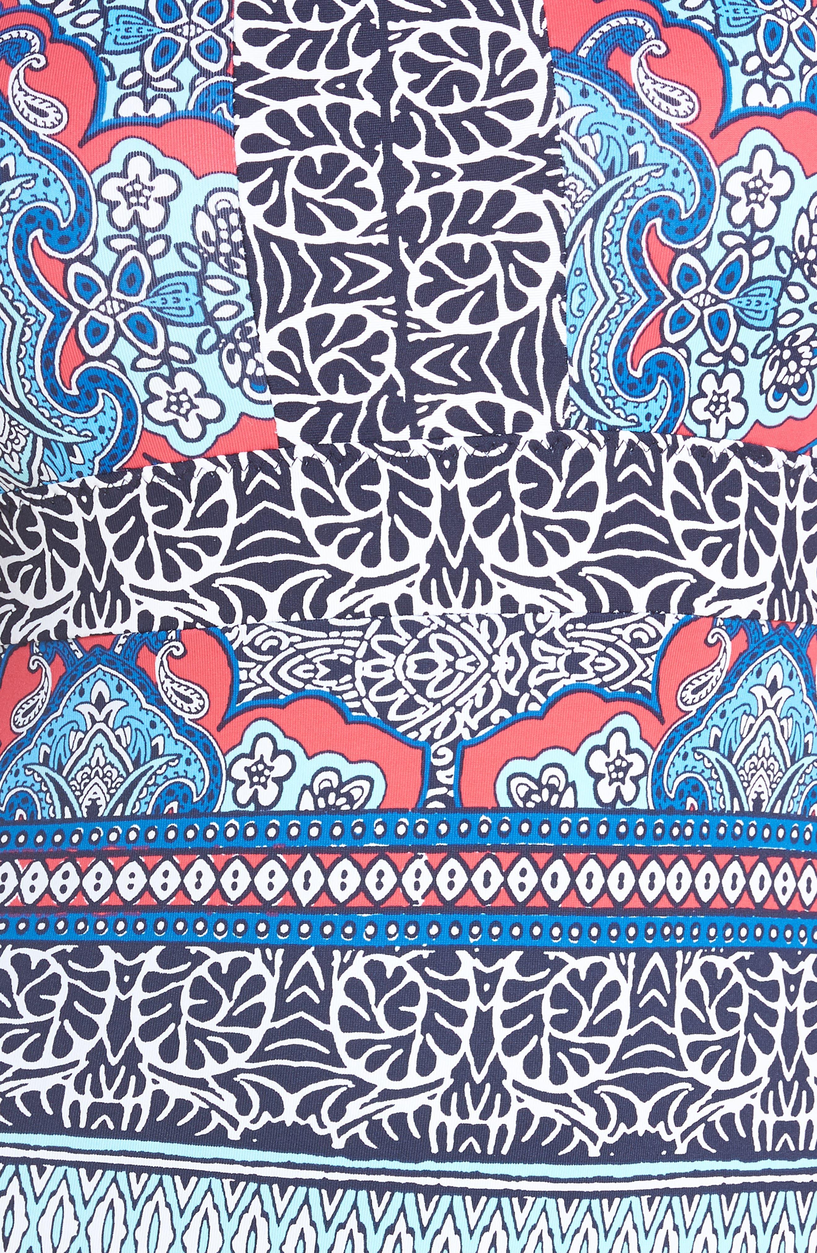 Riviera Tiles Reversible One-Piece Swimsuit,                             Alternate thumbnail 6, color,                             CERISE