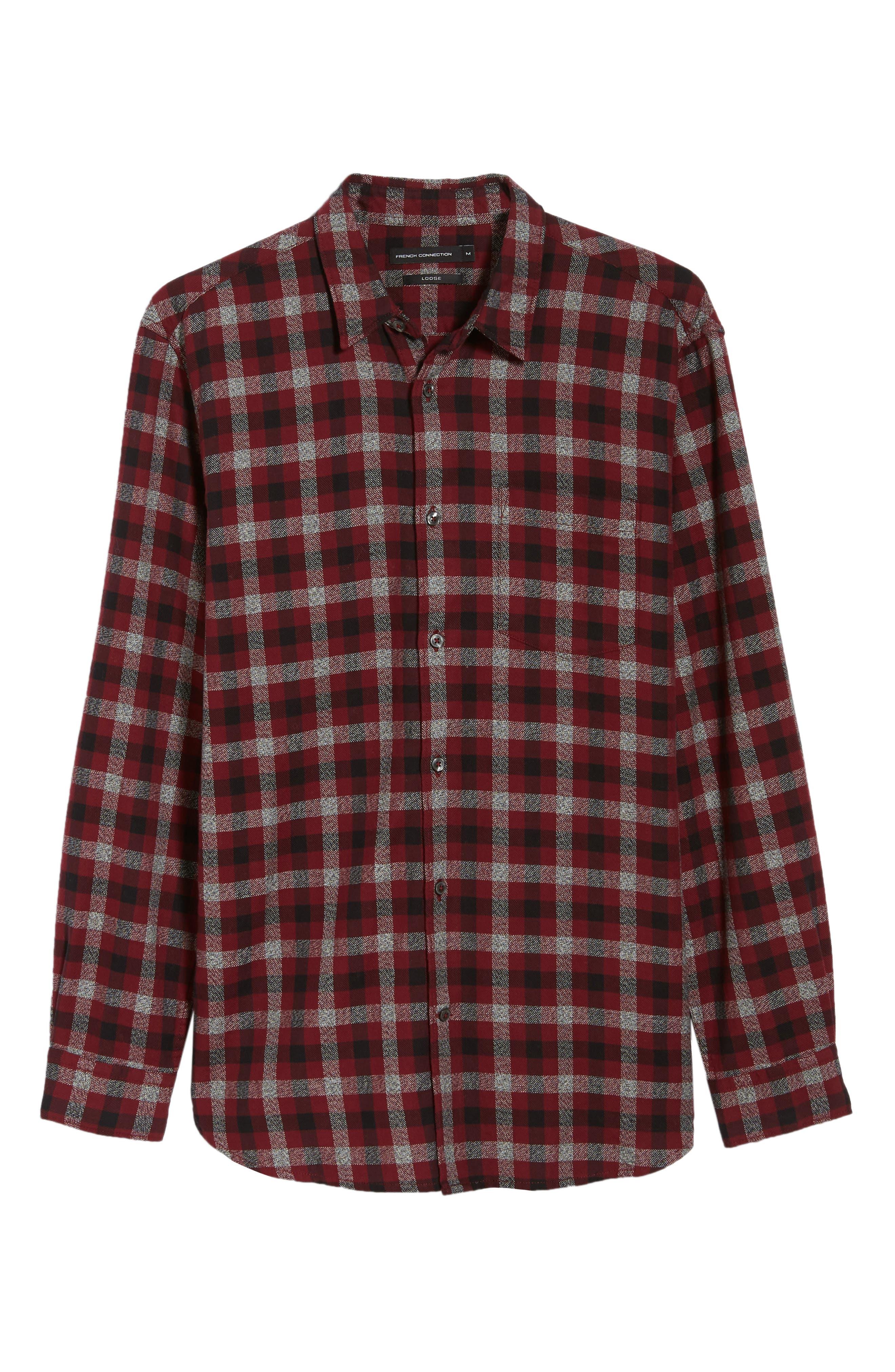 Regular Fit Dobby Check Shirt,                             Alternate thumbnail 5, color,                             RASPBERRY BERET