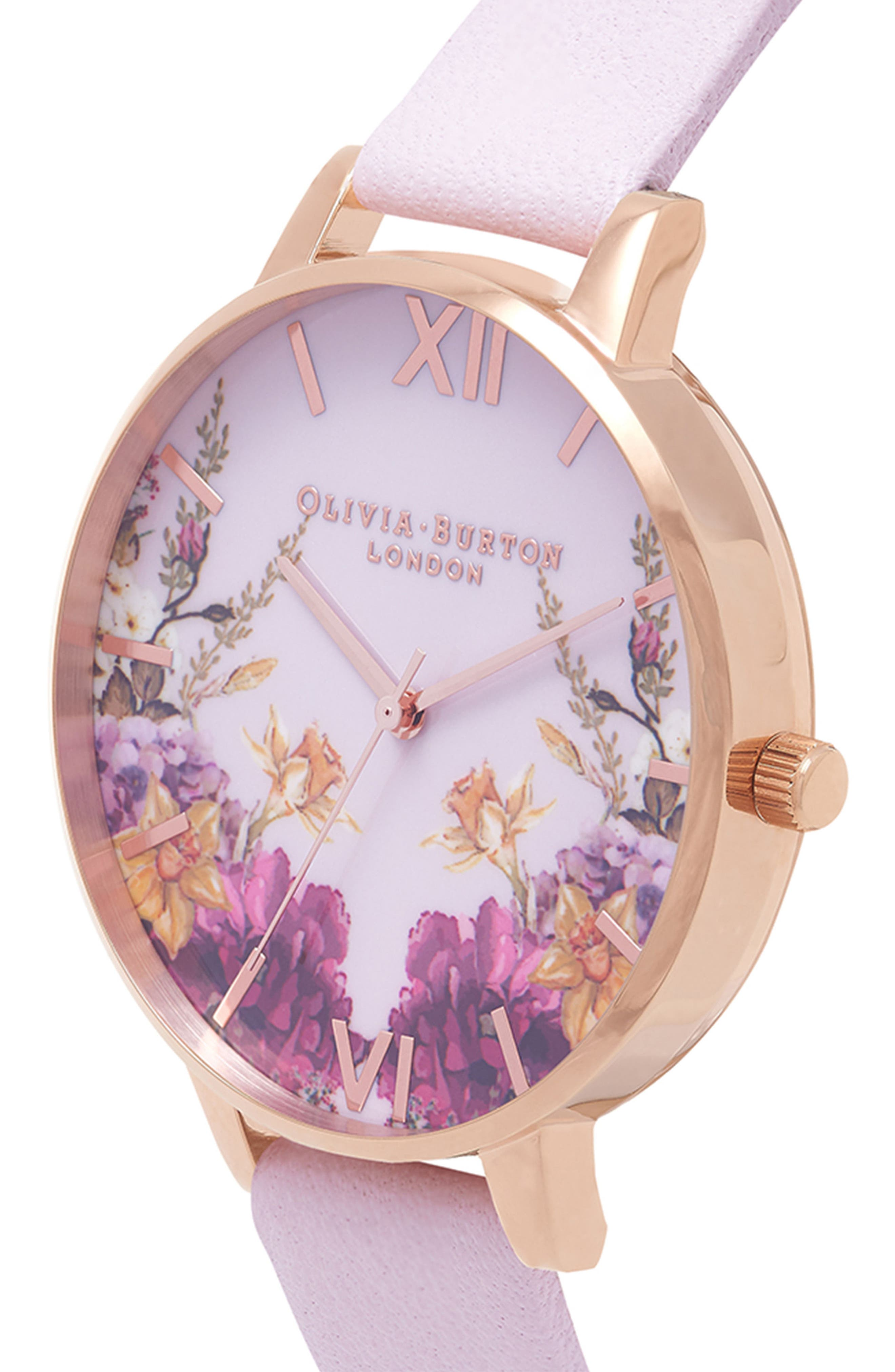Enchanted Garden Leather Strap Watch, 38mm,                             Alternate thumbnail 5, color,                             BLOSSOM/ PINK/ ROSE GOLD