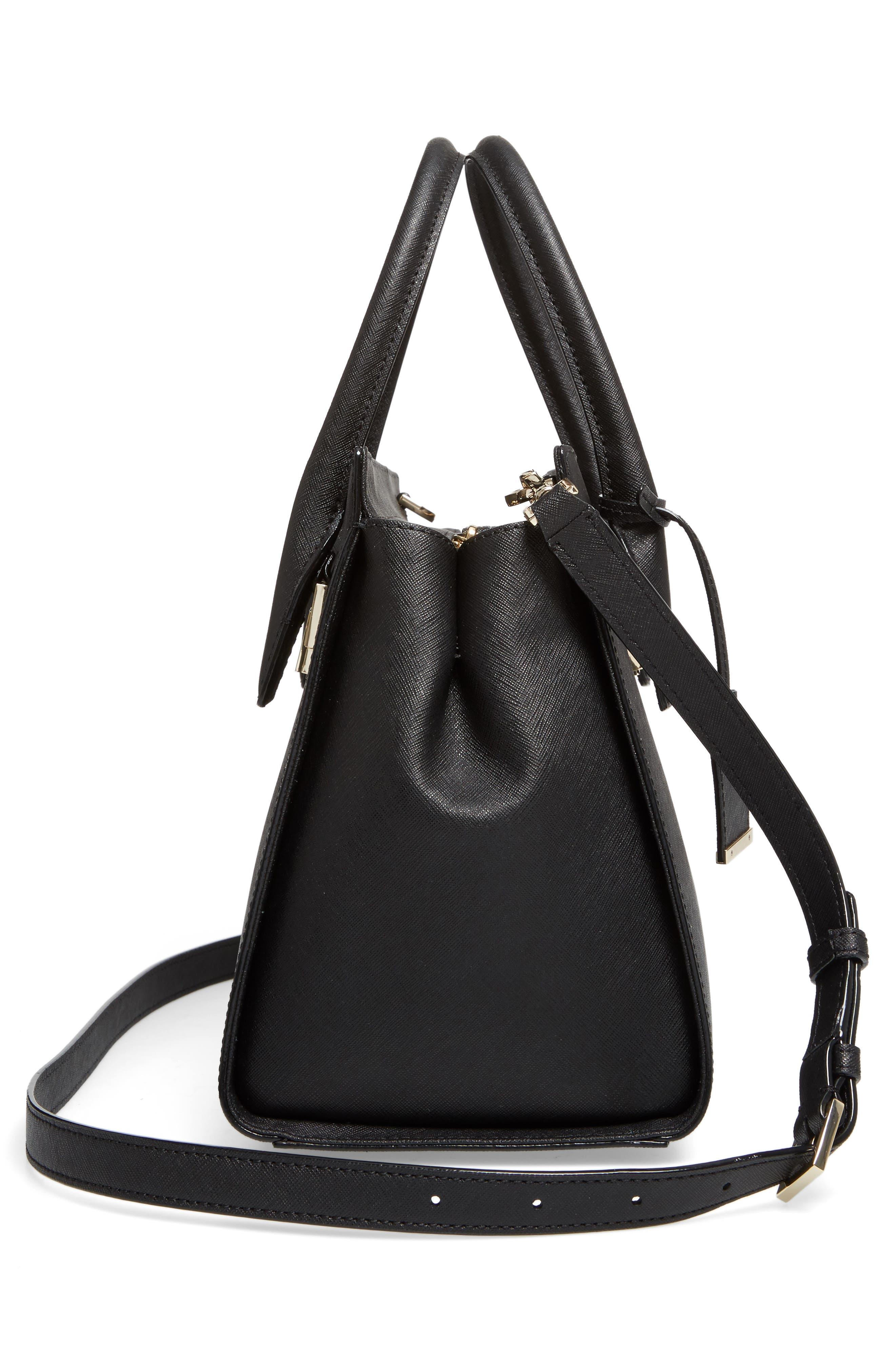 make it mine - candace leather satchel,                             Alternate thumbnail 5, color,                             001