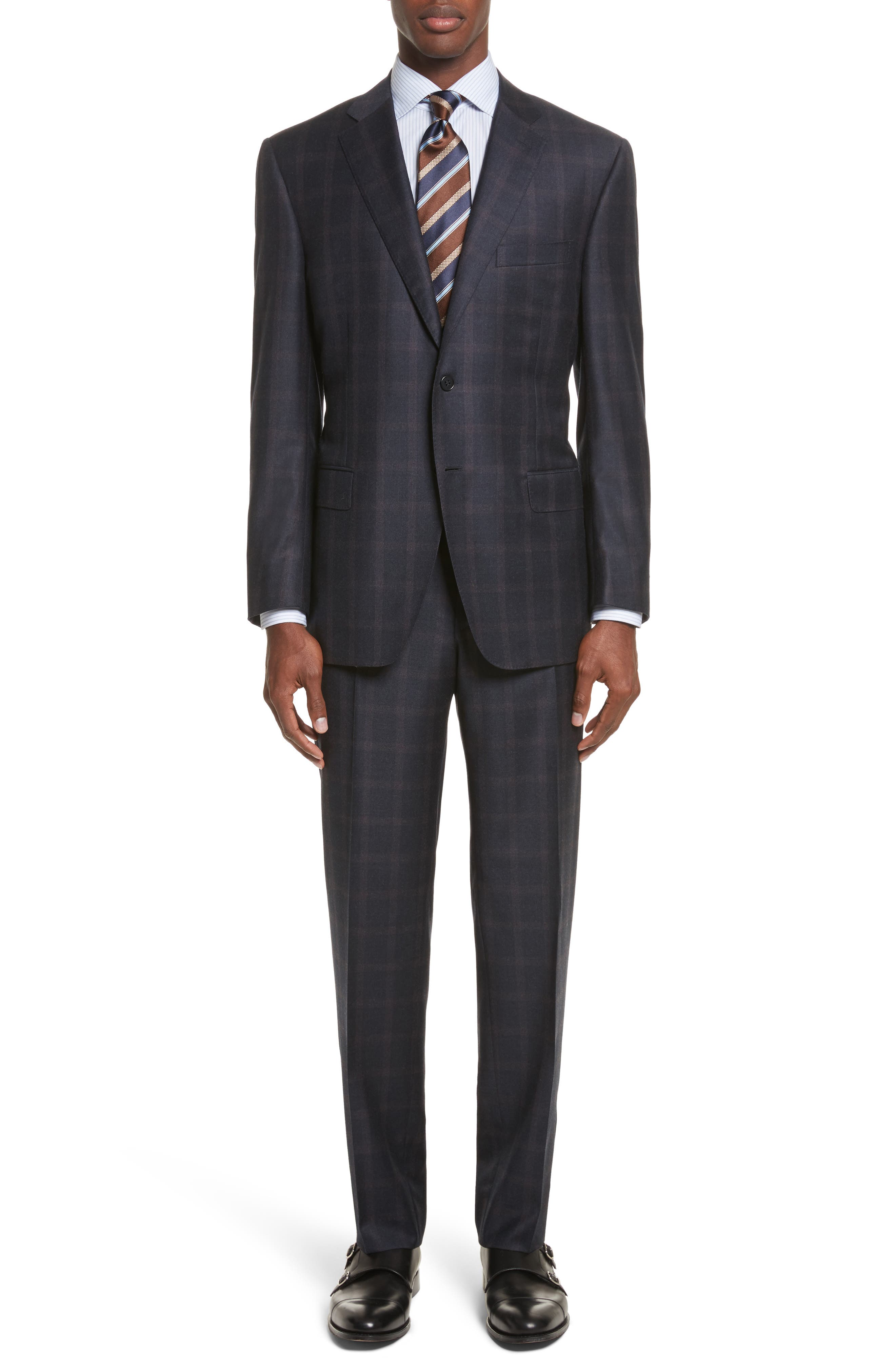 Classic Fit Plaid Wool Suit,                             Main thumbnail 1, color,                             420