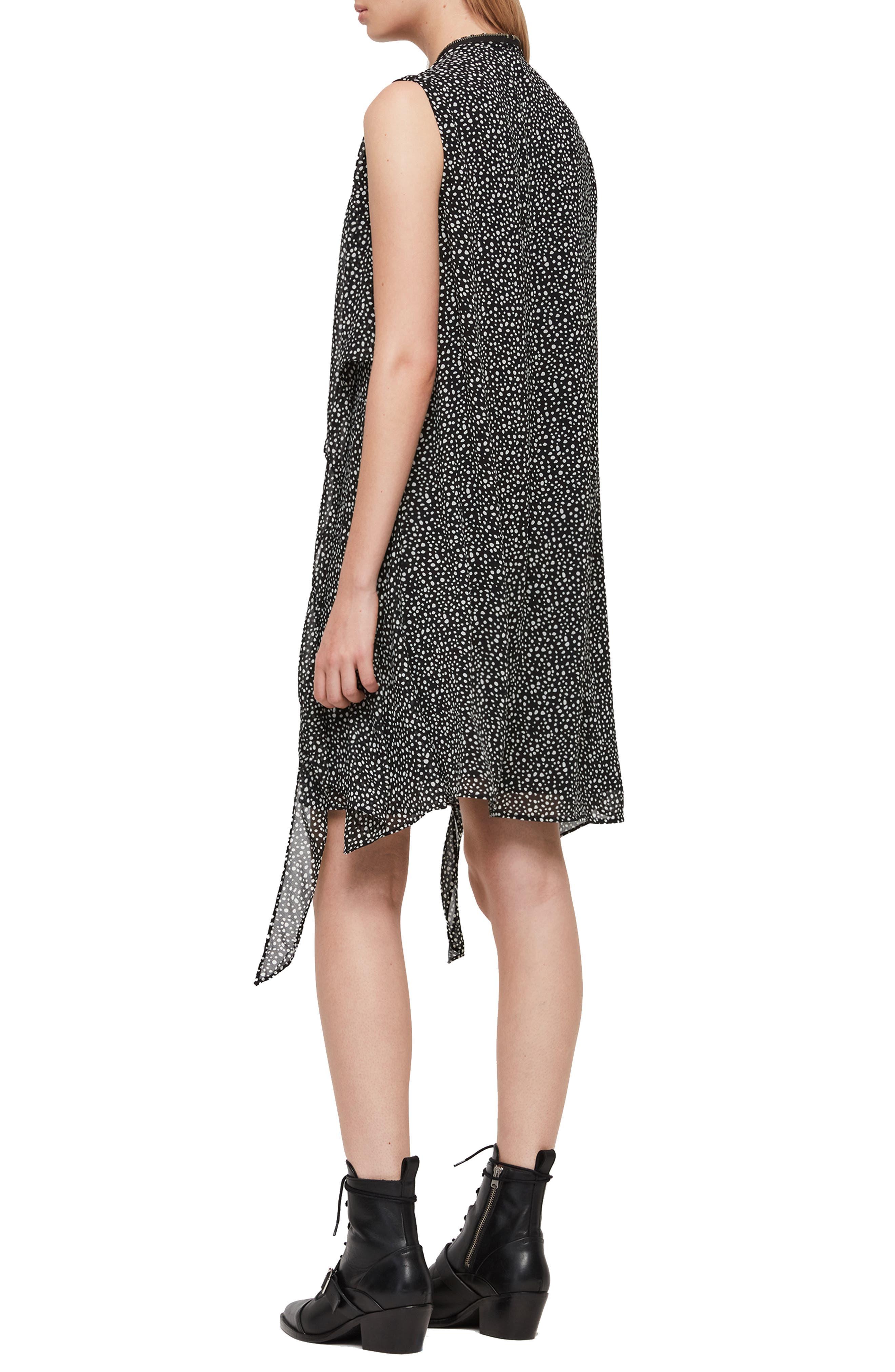 ALLSAINTS,                             Jayda Splash Dress,                             Alternate thumbnail 2, color,                             BLACK/ WHITE
