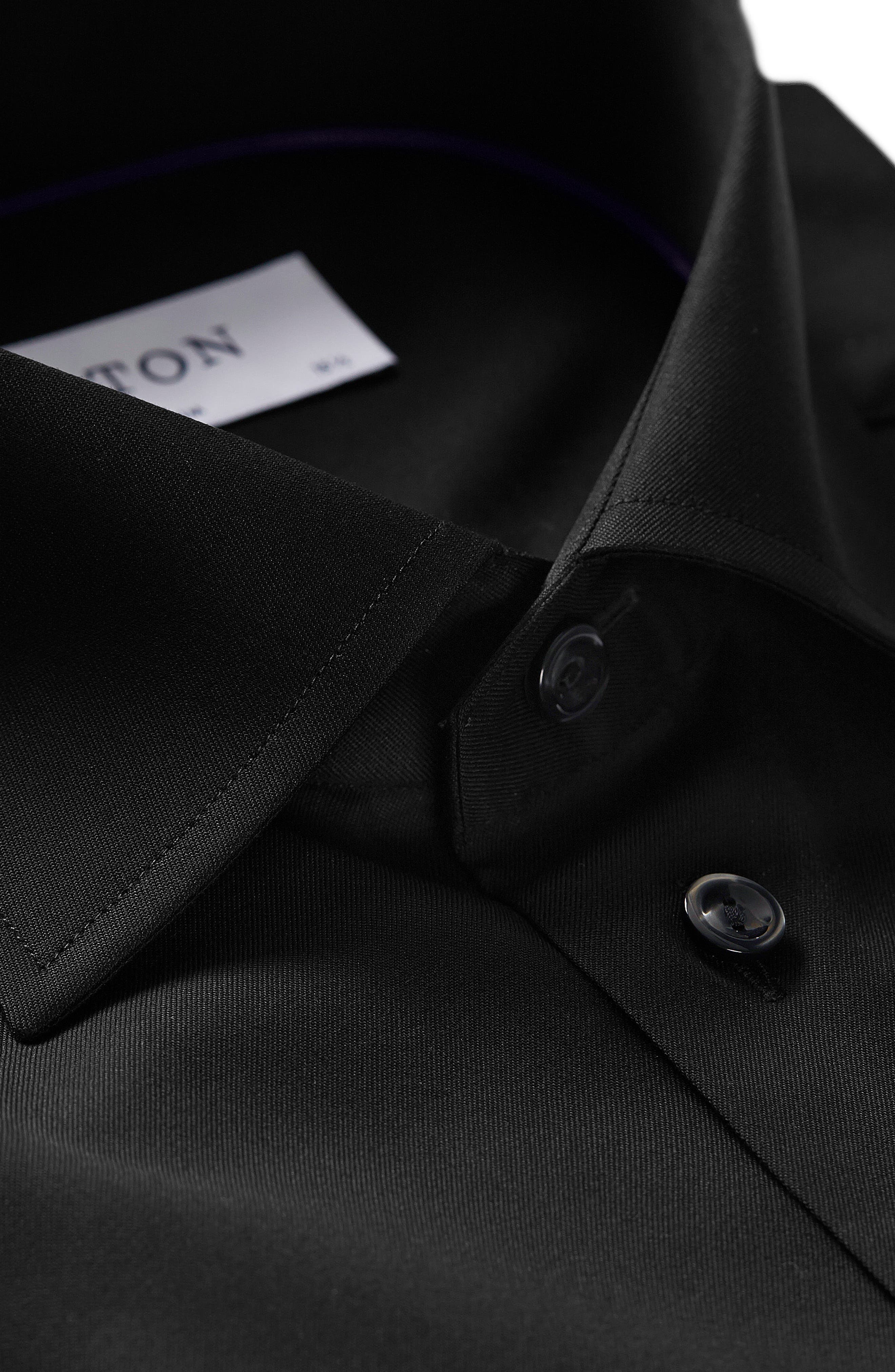 Slim Fit Twill Dress Shirt,                             Alternate thumbnail 4, color,                             BLACK