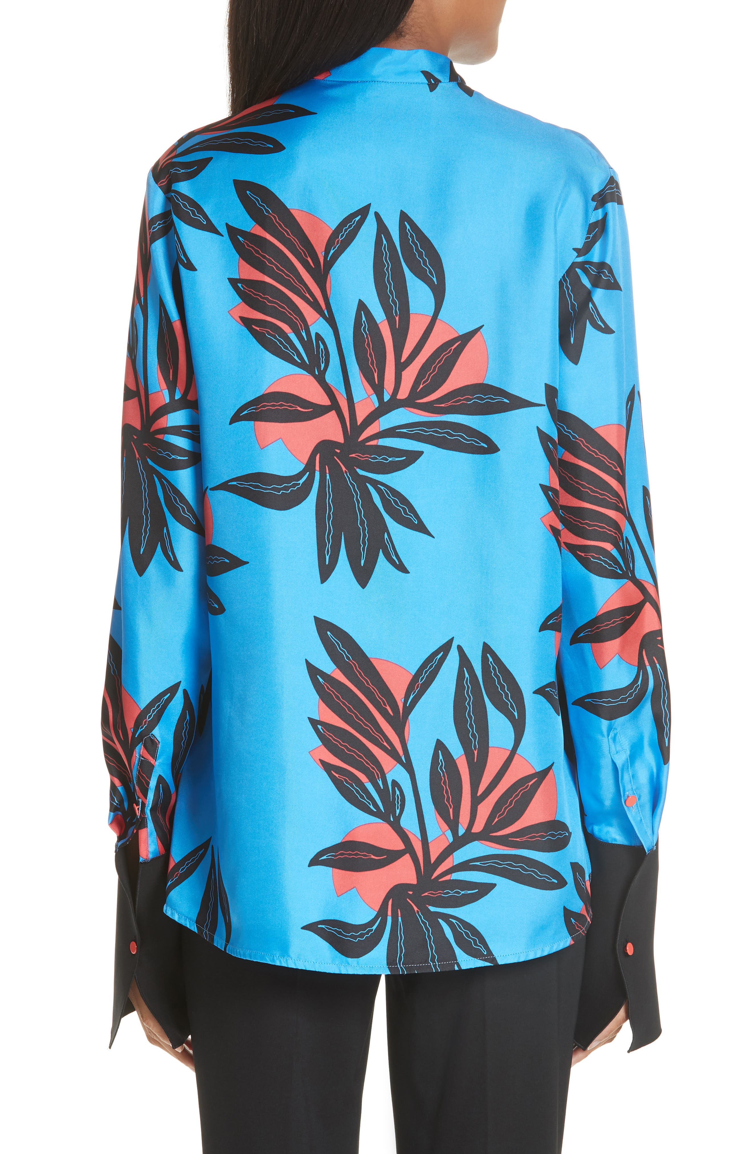 Imani Floral Print Silk Shirt,                             Alternate thumbnail 2, color,