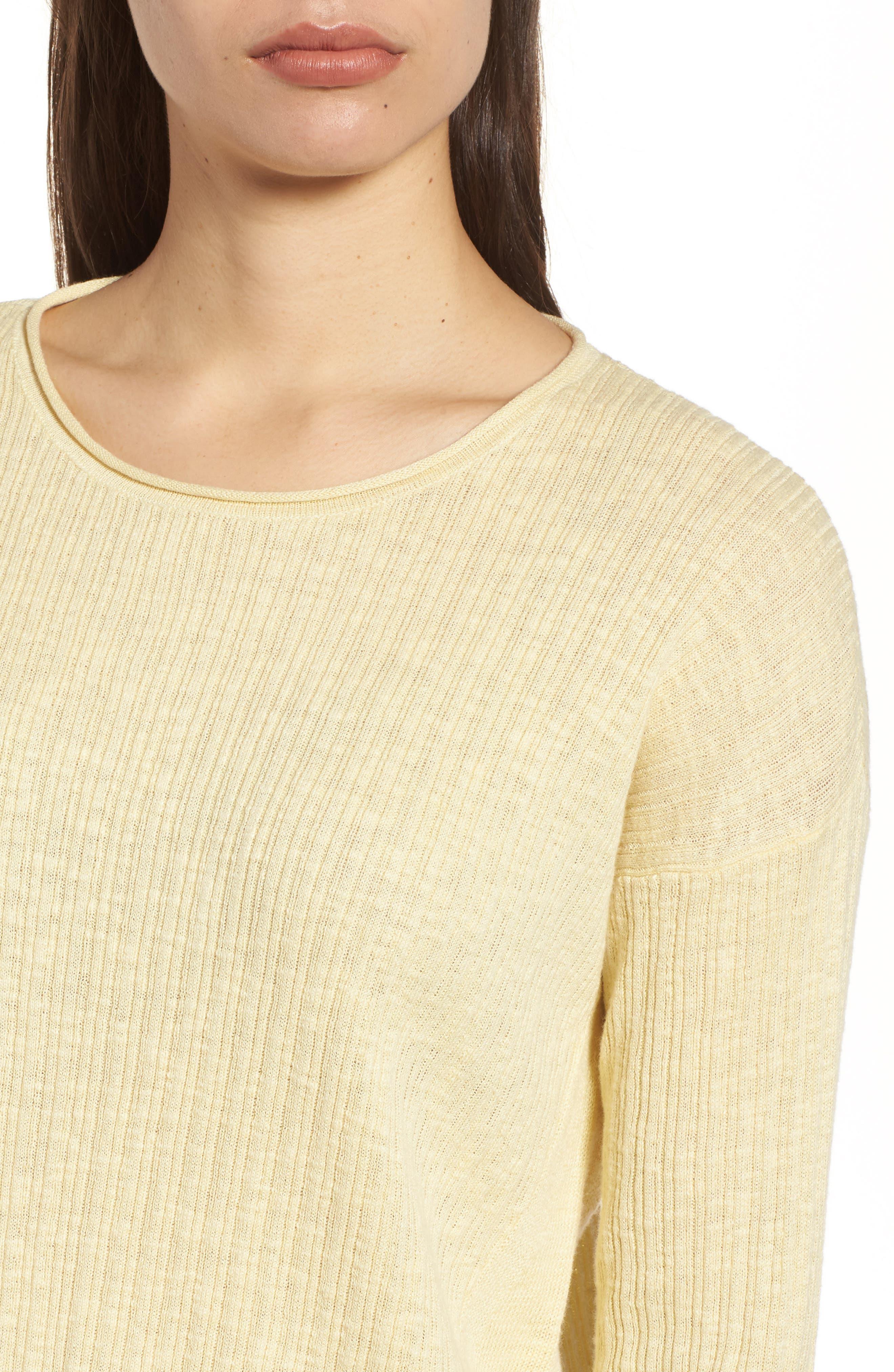 Organic Linen & Cotton Crewneck Sweater,                             Alternate thumbnail 17, color,