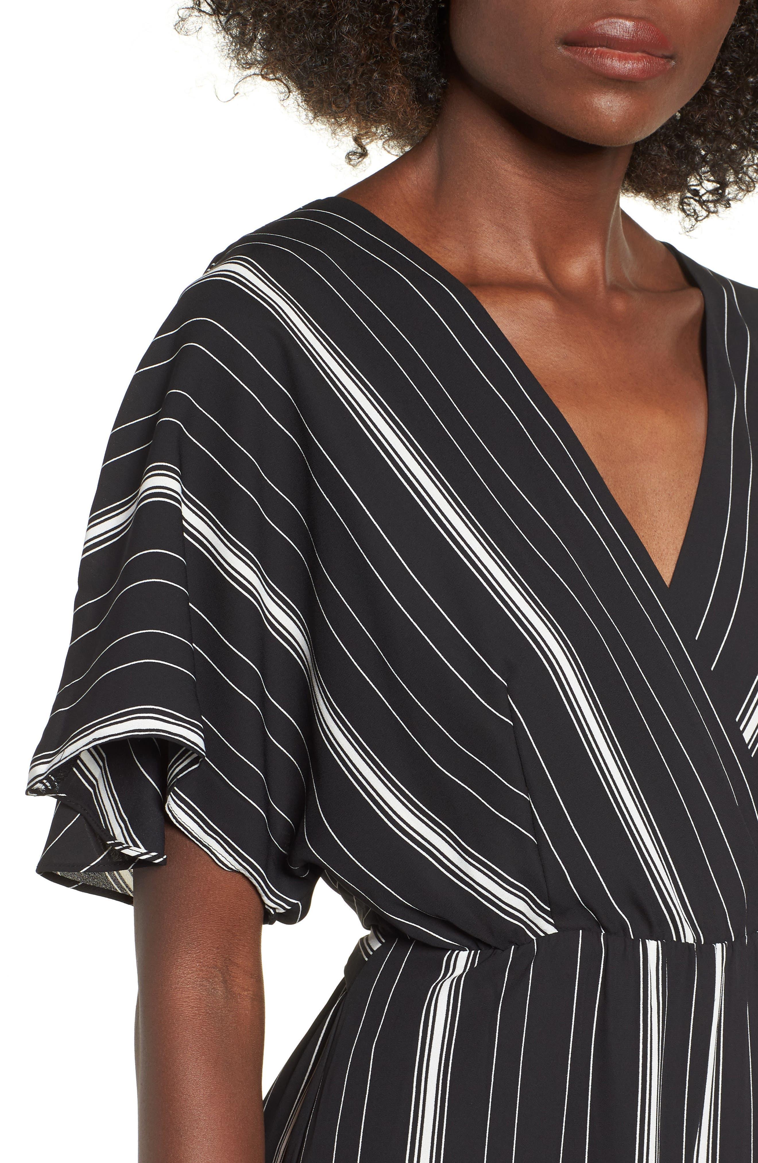 Dolman Sleeve Jumpsuit,                             Alternate thumbnail 4, color,                             BLACK TRACY STRIPE