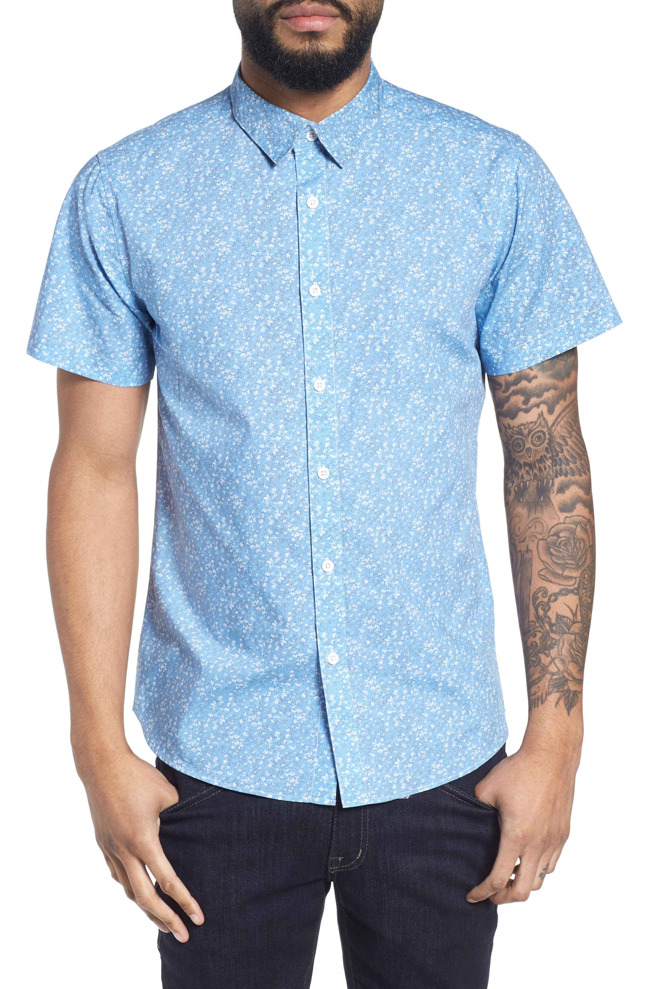 Print Woven Short Sleeve Shirt,                         Main,                         color, 463
