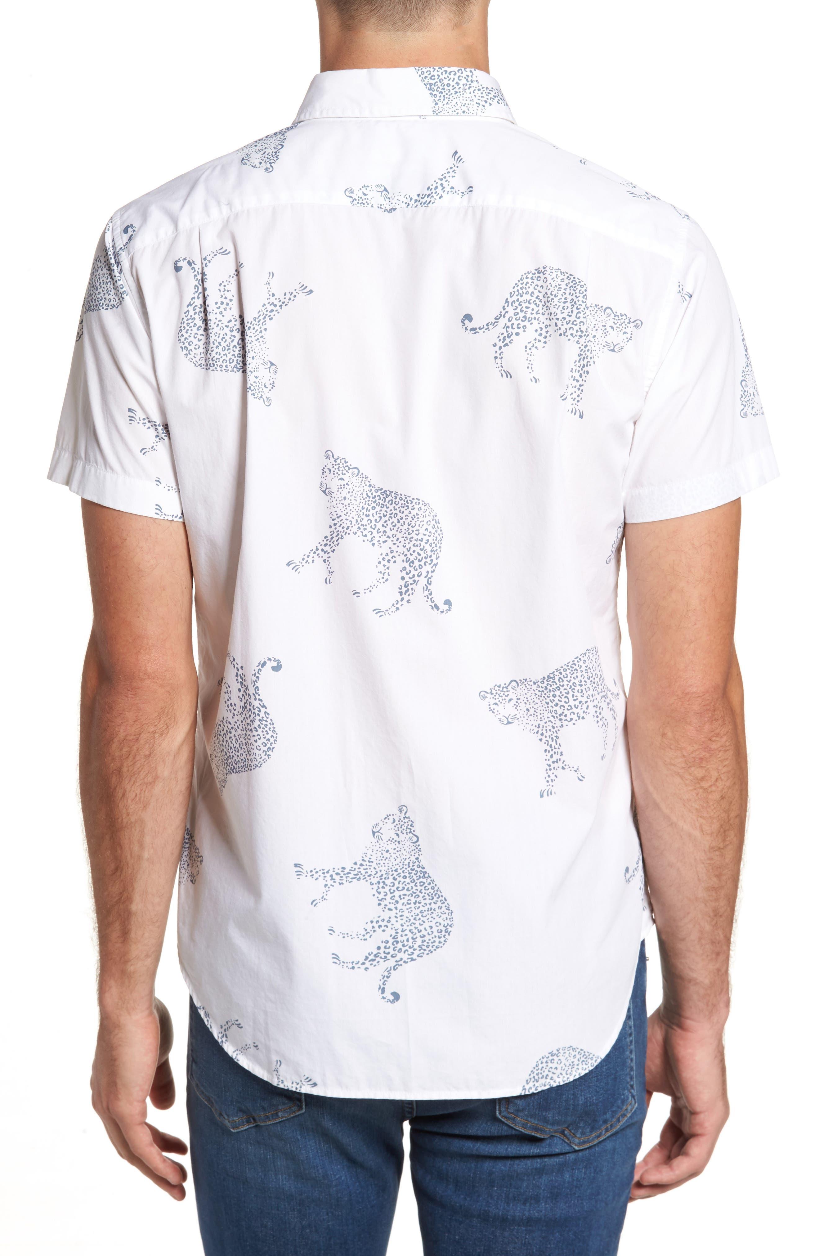 Slim Fit Cheetah Print Sport Shirt,                             Alternate thumbnail 2, color,