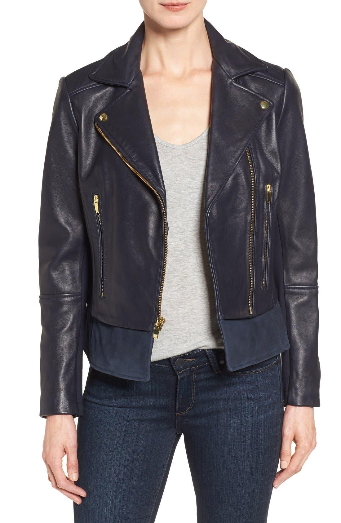 Mixed Media Leather Moto Jacket,                             Main thumbnail 2, color,
