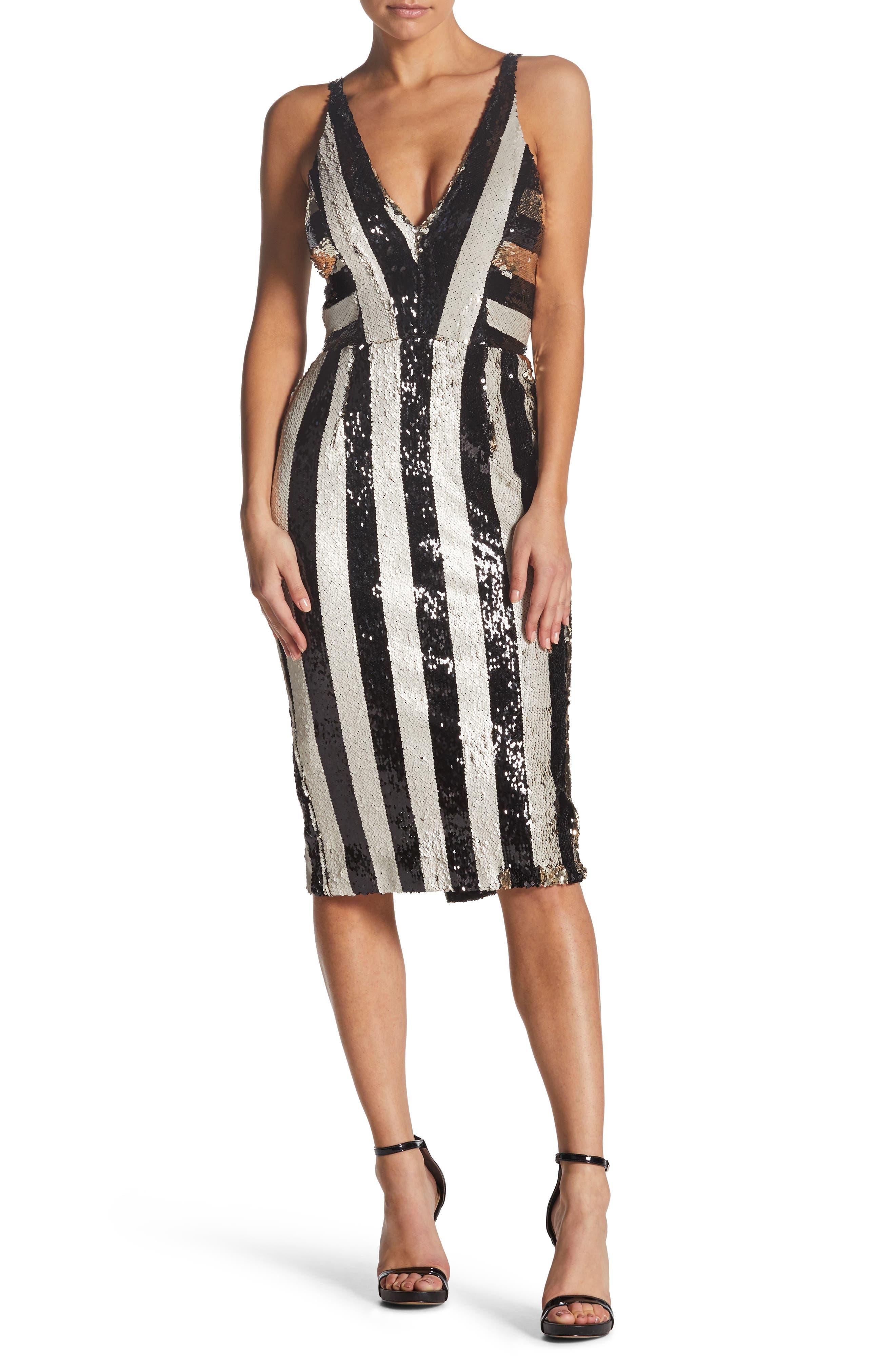 DRESS THE POPULATION Margo Sequin Striped V-Neck Dress in Black/ Bone