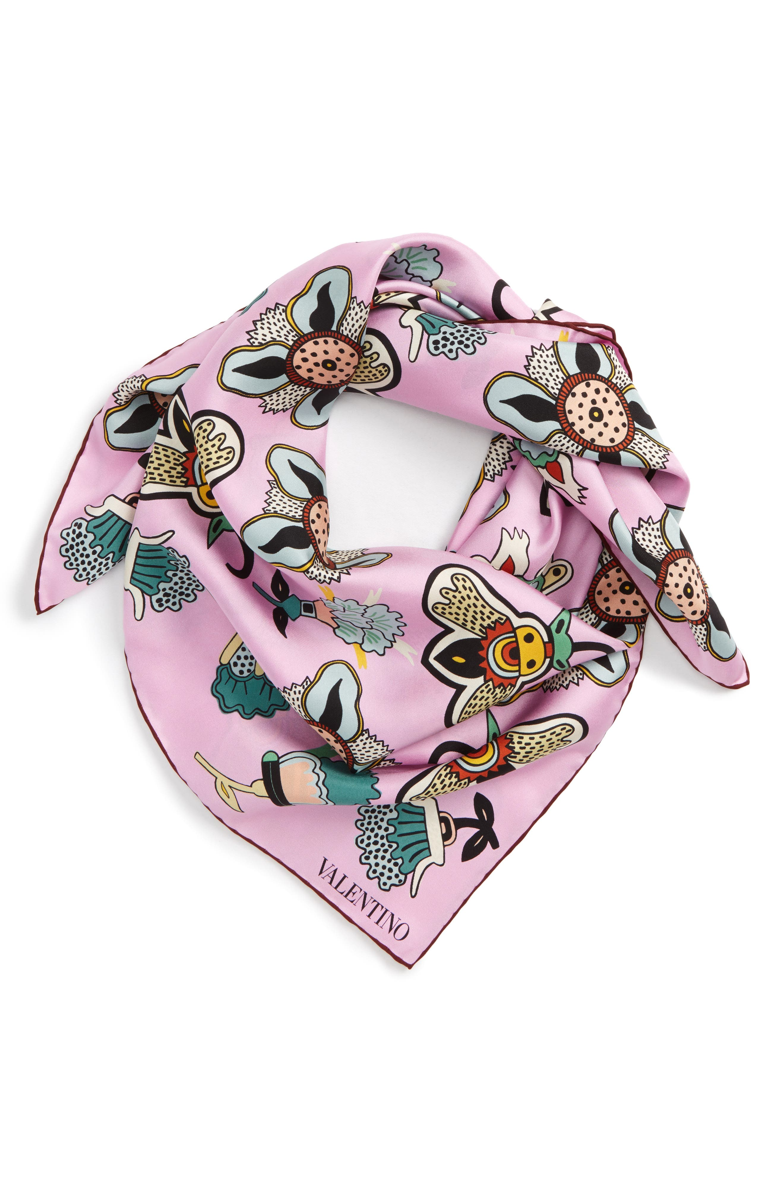 Pop Flower Silk Scarf,                             Main thumbnail 3, color,