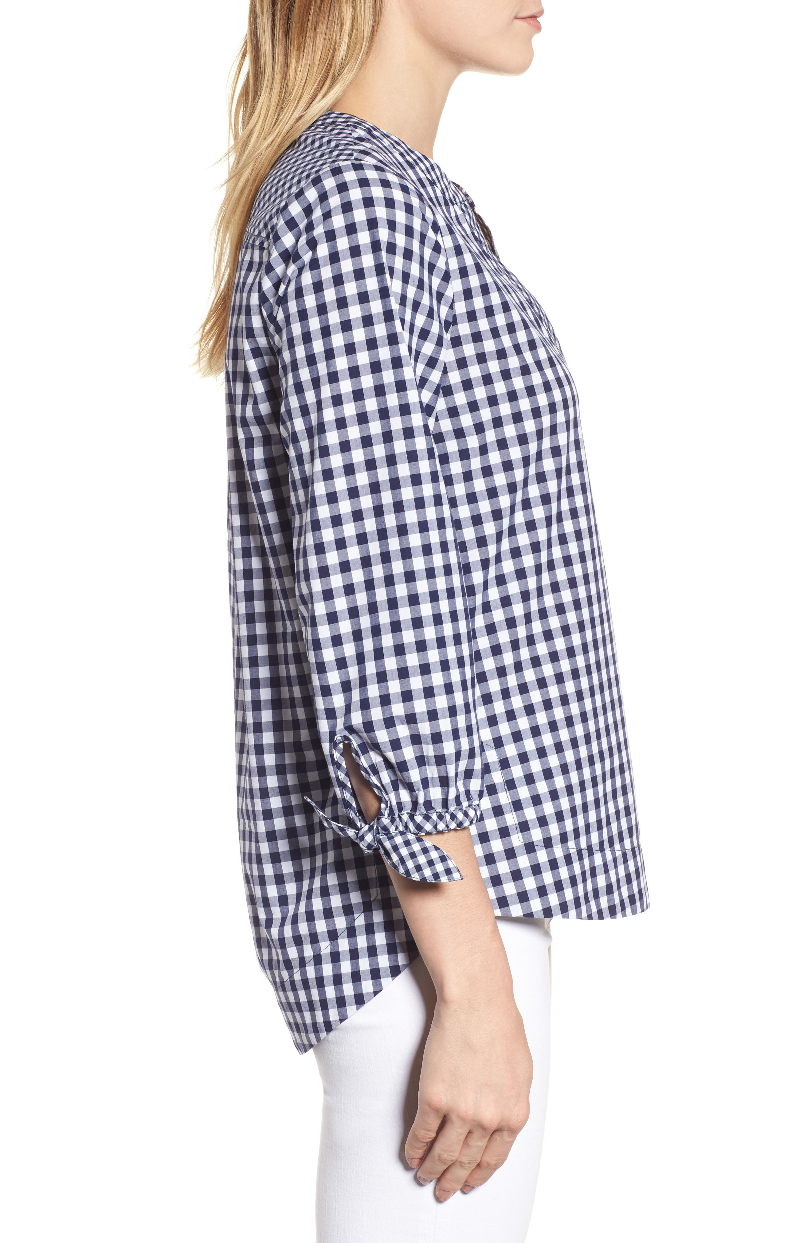 Mixed Gingham Tie Sleeve Top,                             Alternate thumbnail 3, color,                             476