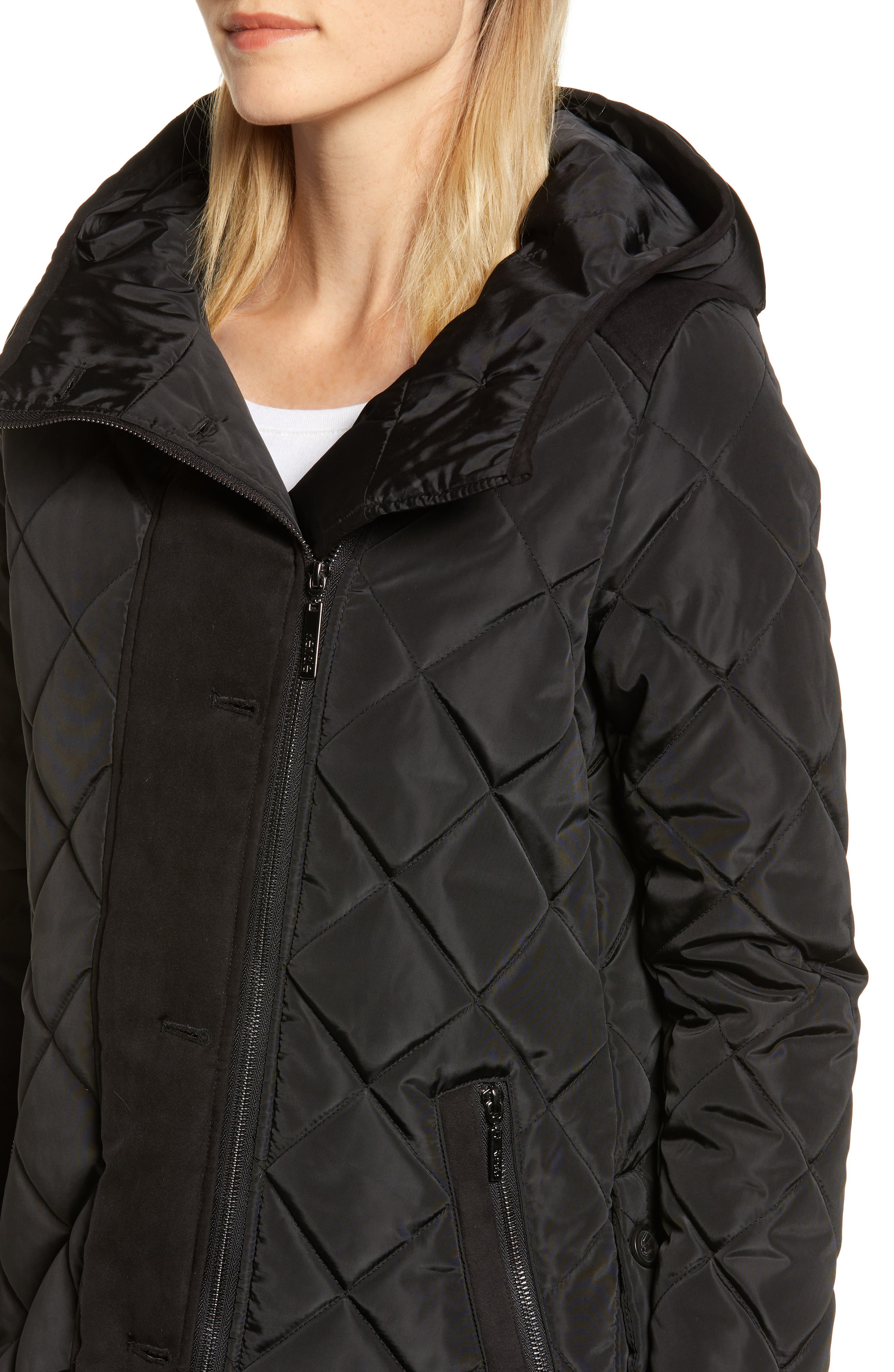 Button Side Quilted Jacket,                             Alternate thumbnail 4, color,                             BLACK