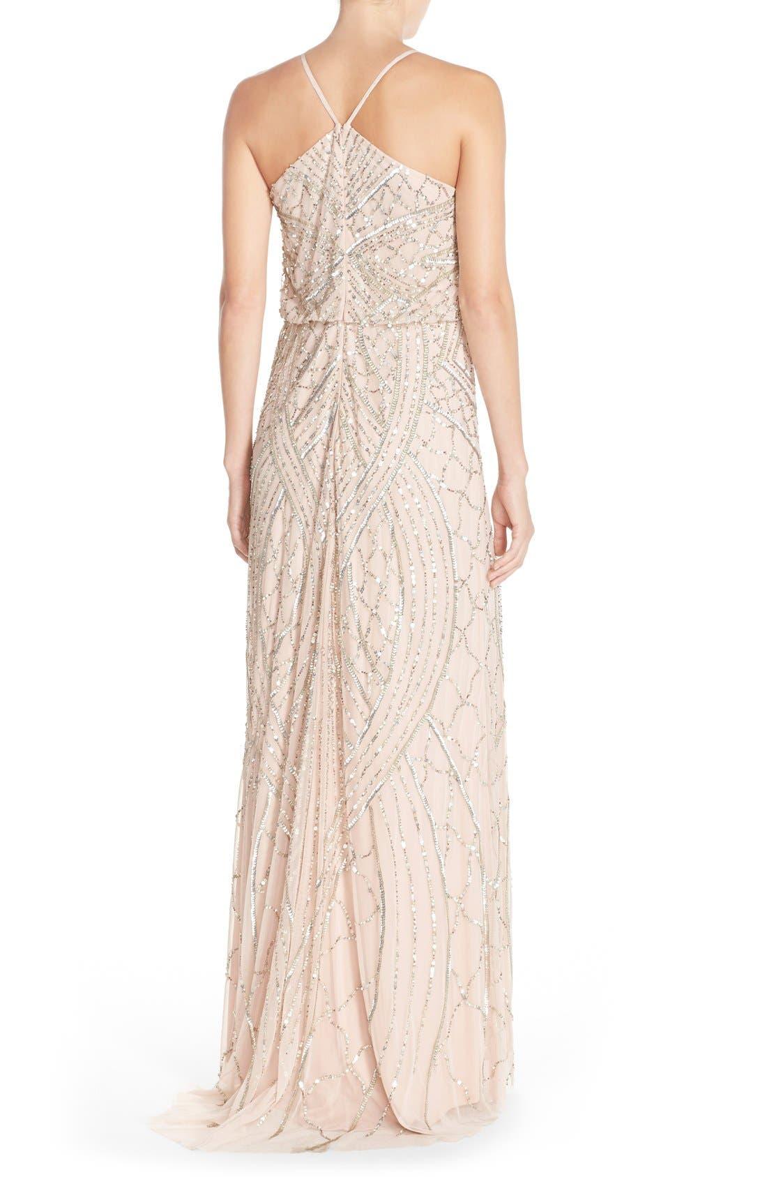 Sequin Chiffon Blouson Gown,                             Alternate thumbnail 3, color,                             684