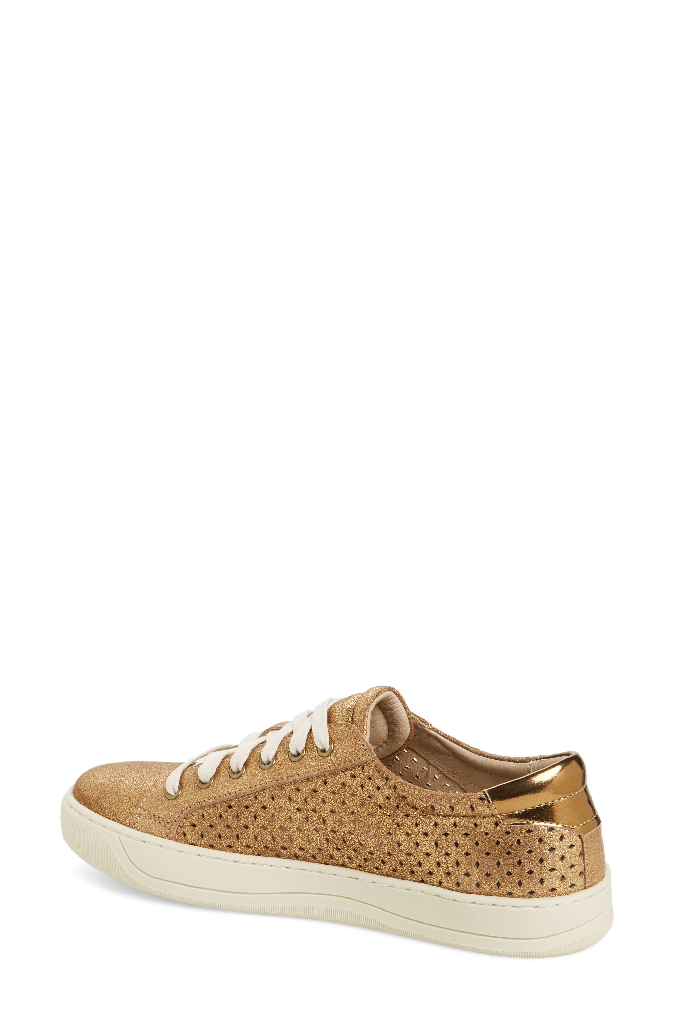 Emerson Perforated Sneaker,                             Alternate thumbnail 2, color,                             GOLD SUEDE