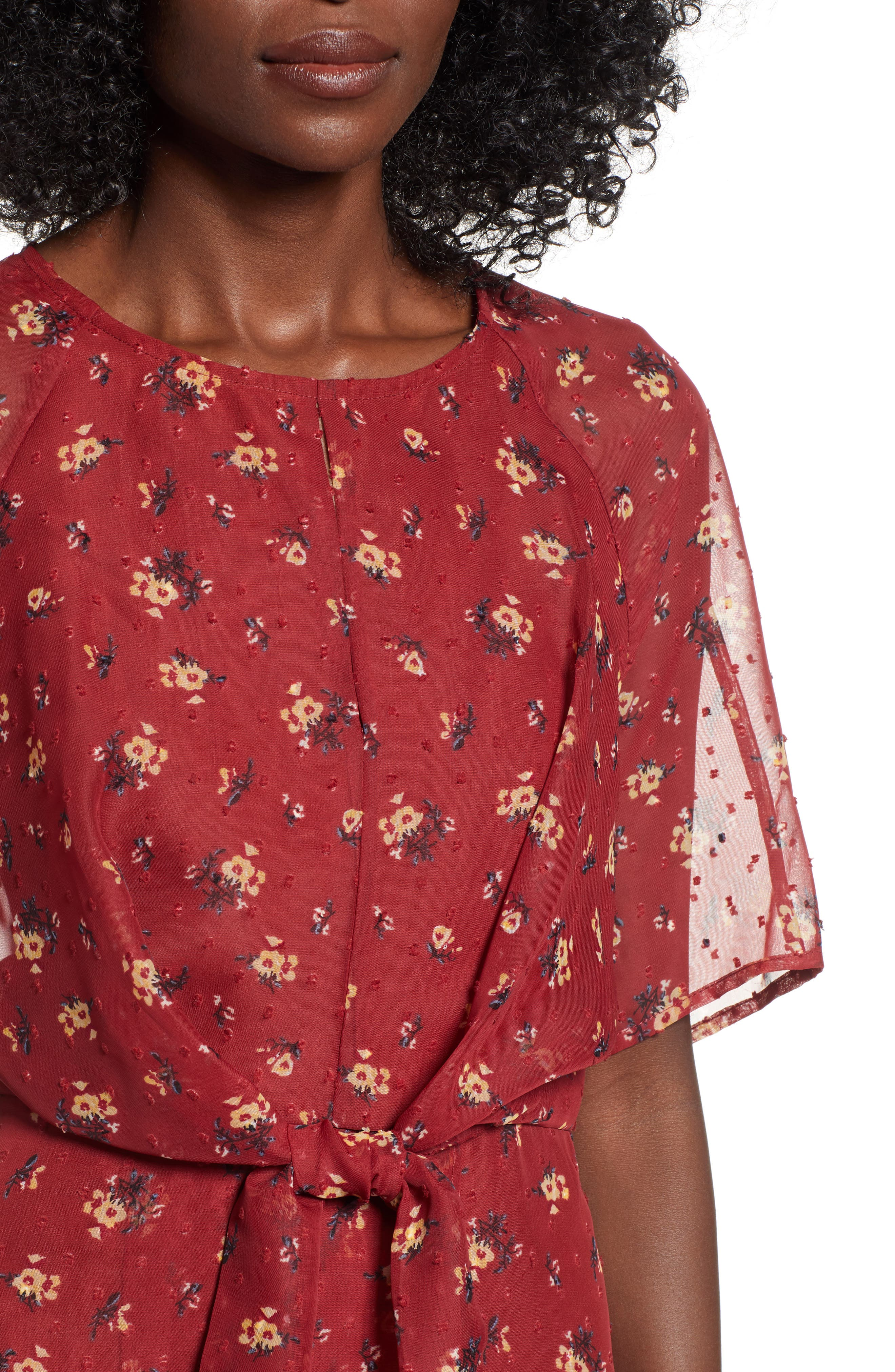 Floral Print Dress,                             Alternate thumbnail 4, color,                             BRICK