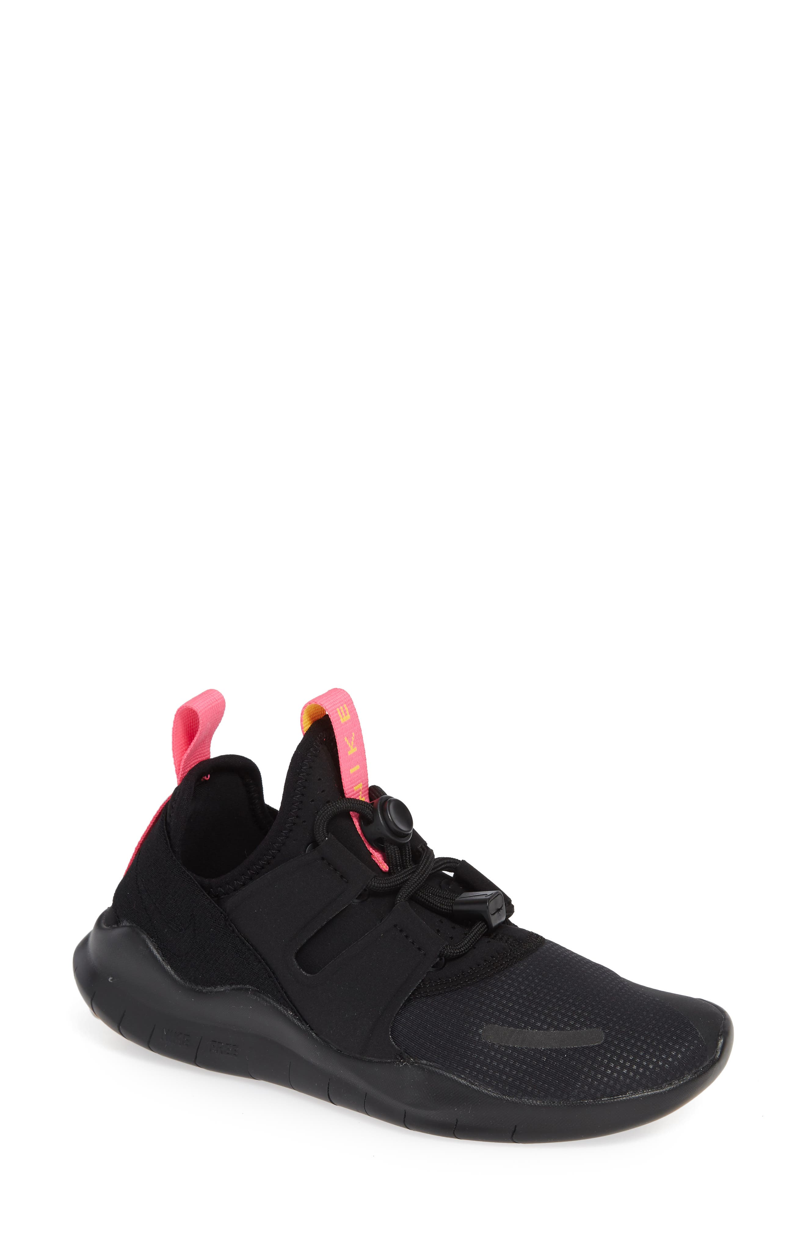 Free RN Commuter 2018 Running Shoe,                         Main,                         color, BLACK/ PINK BLAST/ ORANGE