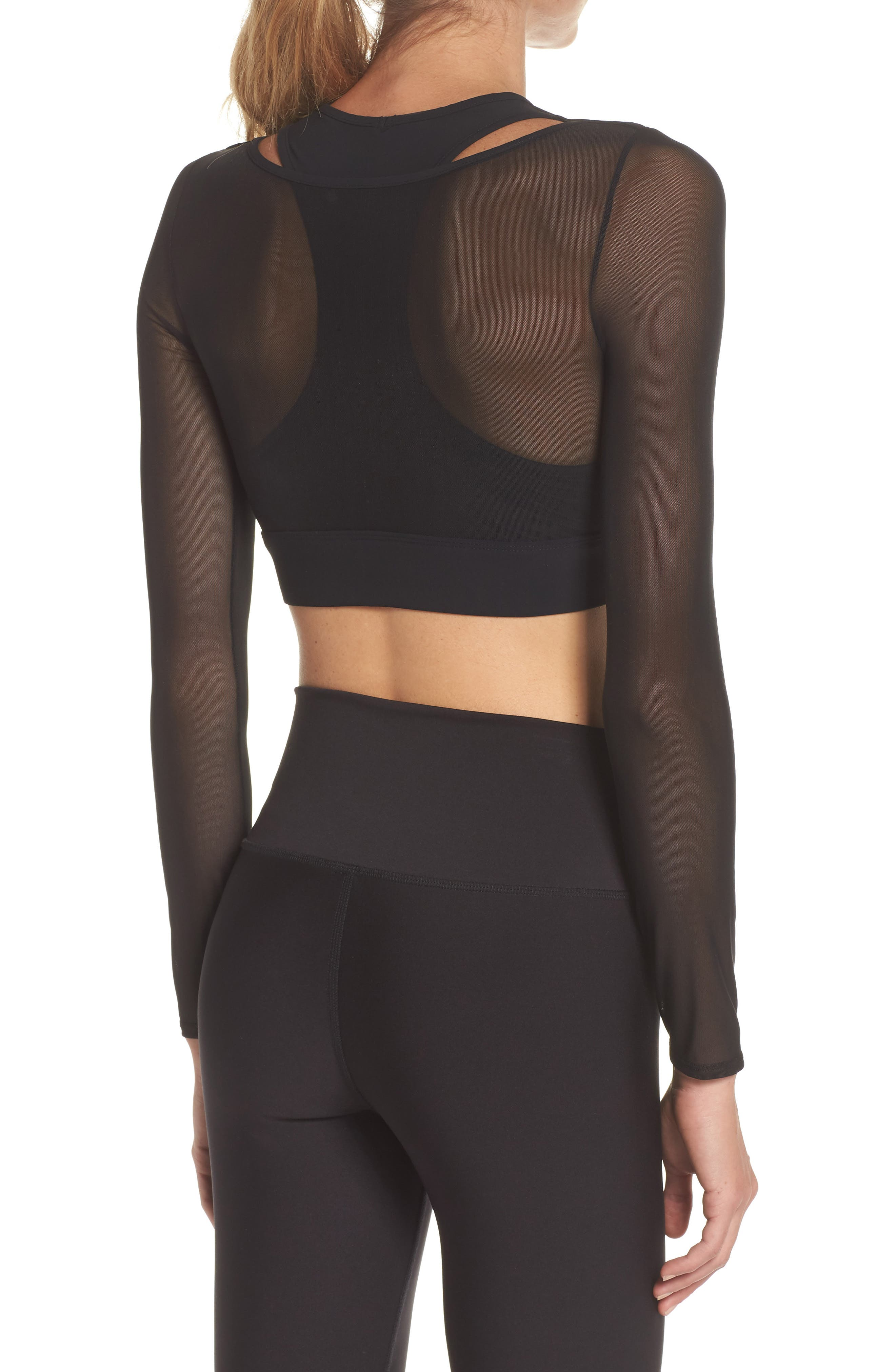 Pivot Layered Look Crop Top,                             Alternate thumbnail 2, color,                             BLACK