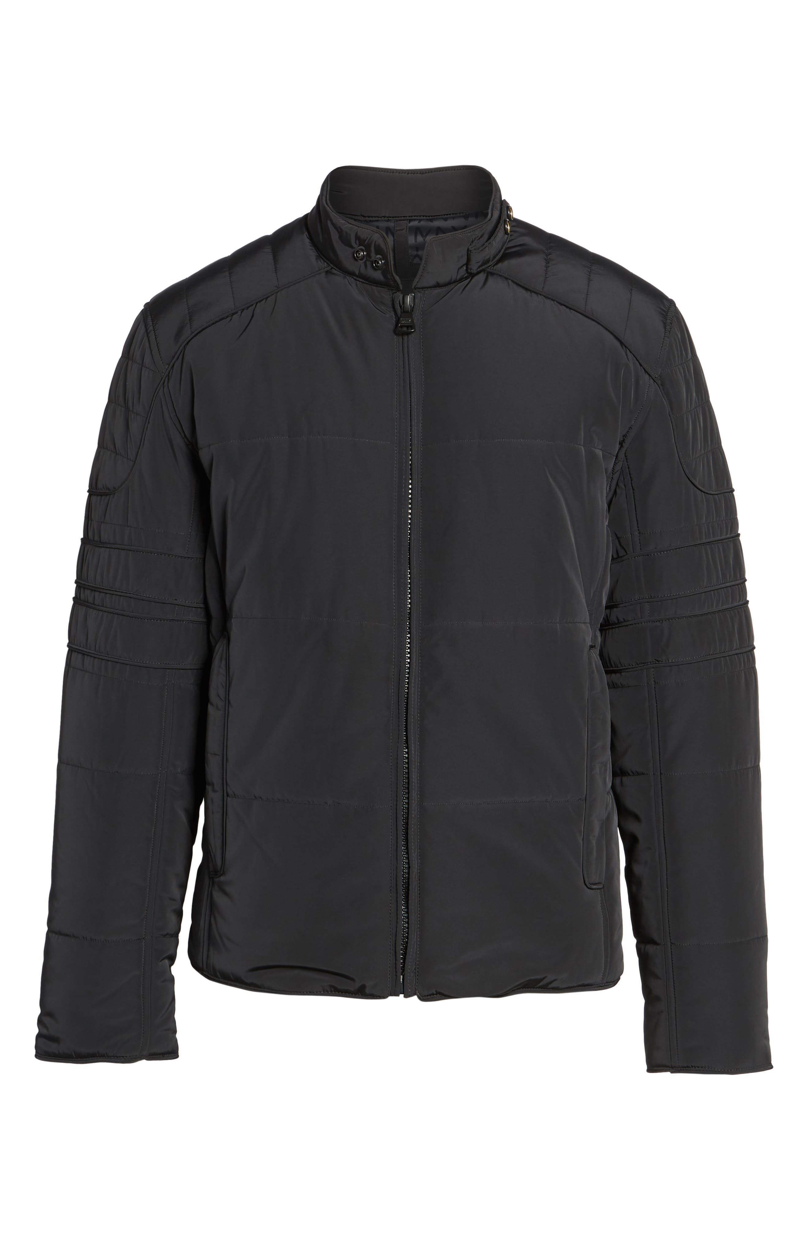 Quilted Moto Jacket,                             Alternate thumbnail 5, color,                             001
