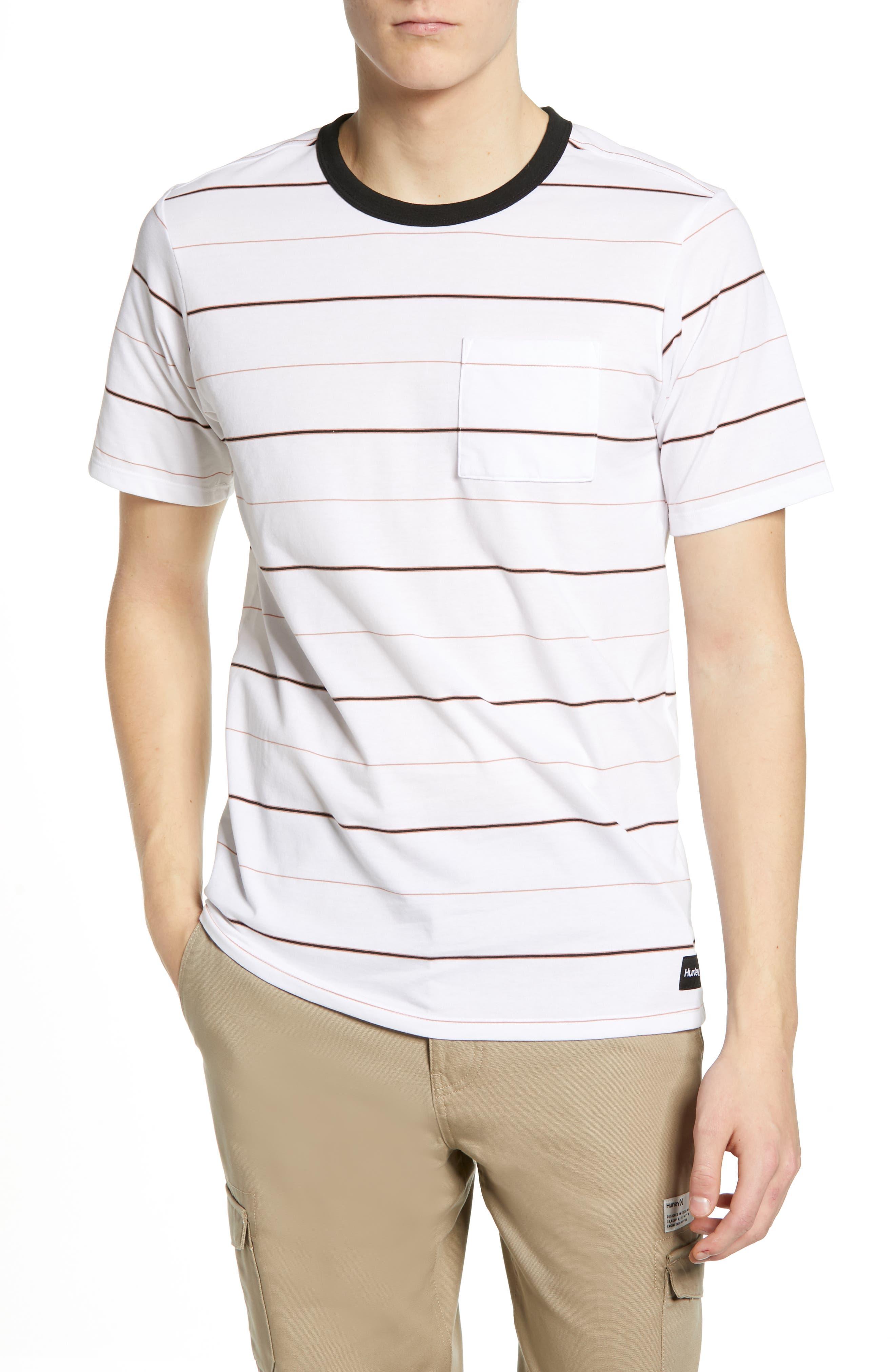 Hurley Dri-Fit Straya Stripe Pocket T-Shirt, White