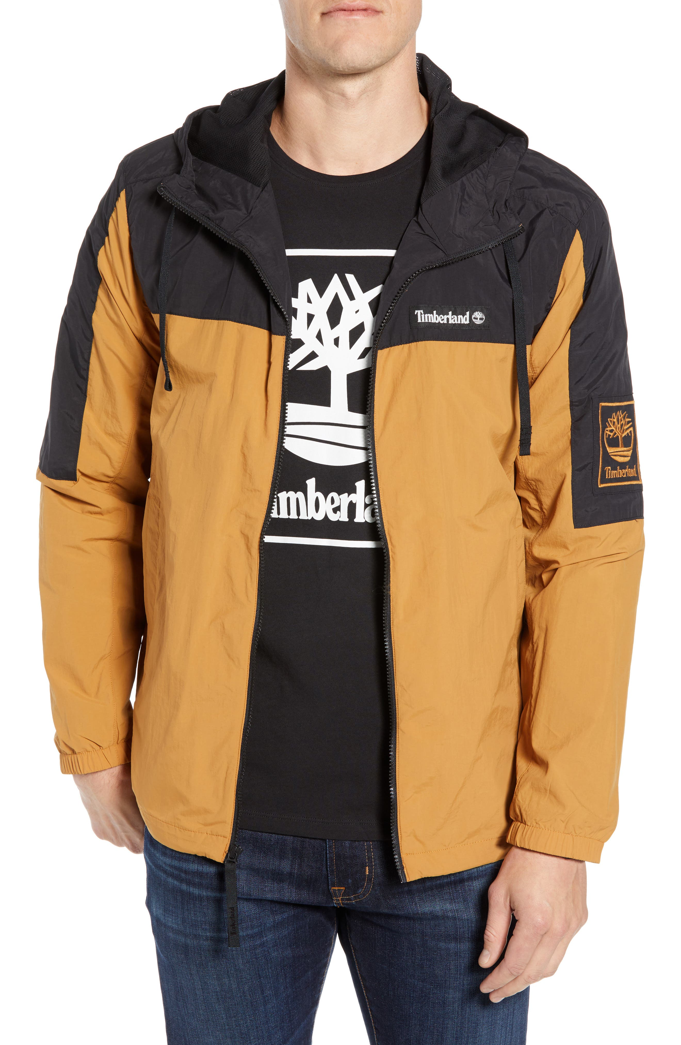 Windbreaker Hooded Jacket,                         Main,                         color, WHEAT BOOT/ BLACK