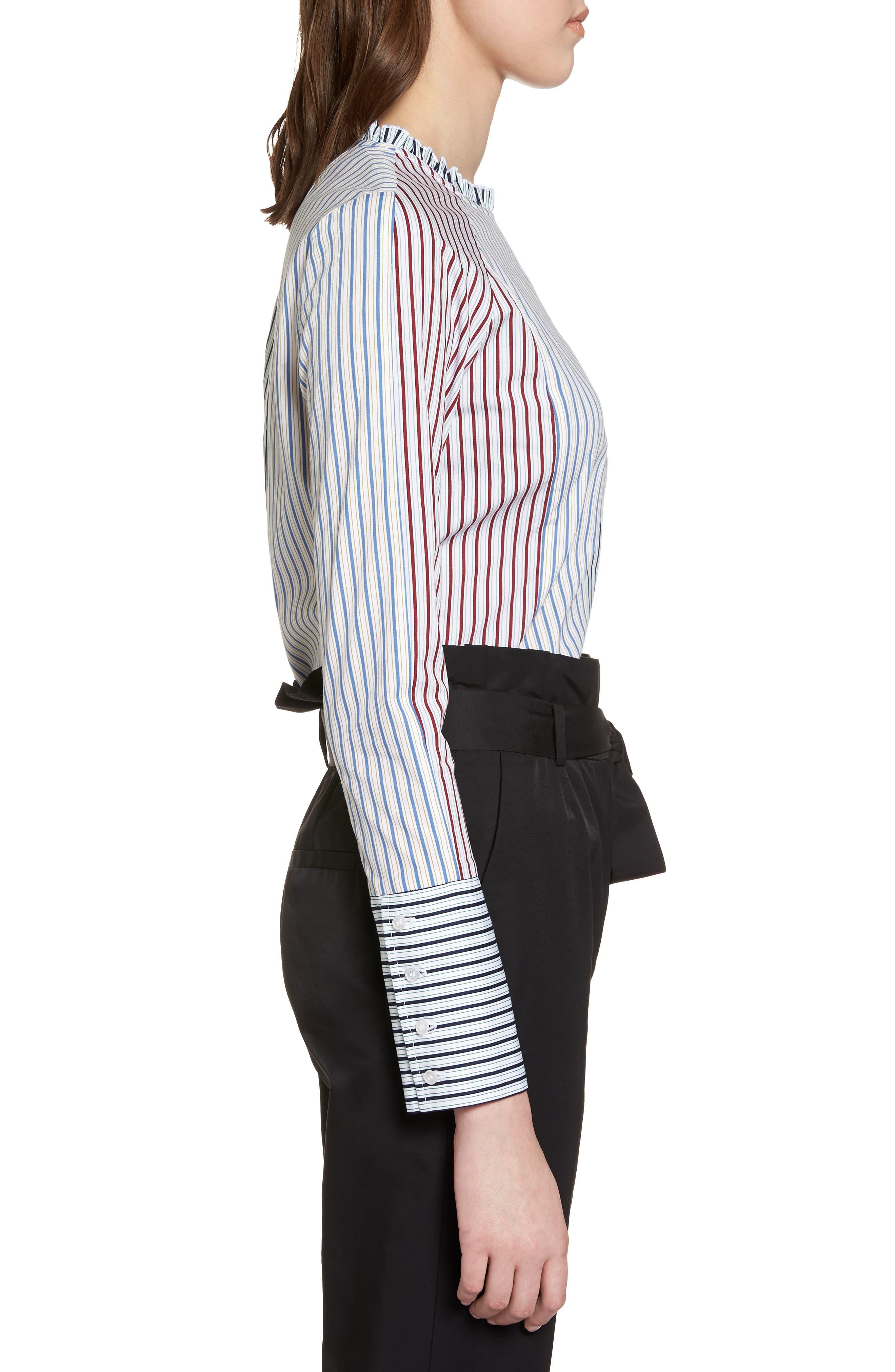 HALOGEN<SUP>®</SUP>,                             Mixed Stripe Cotton Shirt,                             Alternate thumbnail 3, color,                             100