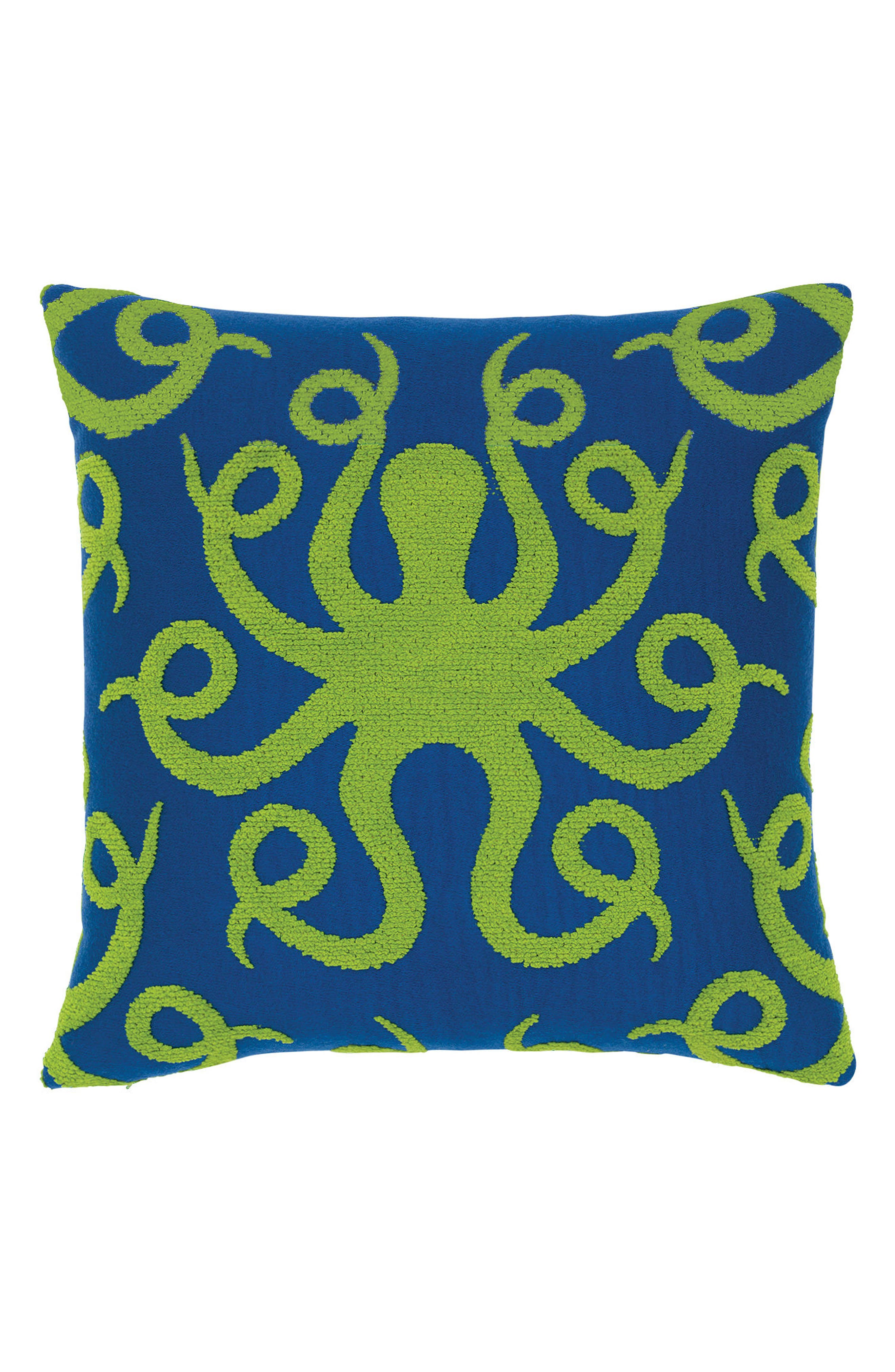 Octoplush Indoor/Outdoor Accent Pillow,                         Main,                         color, GREEN/ BLUE
