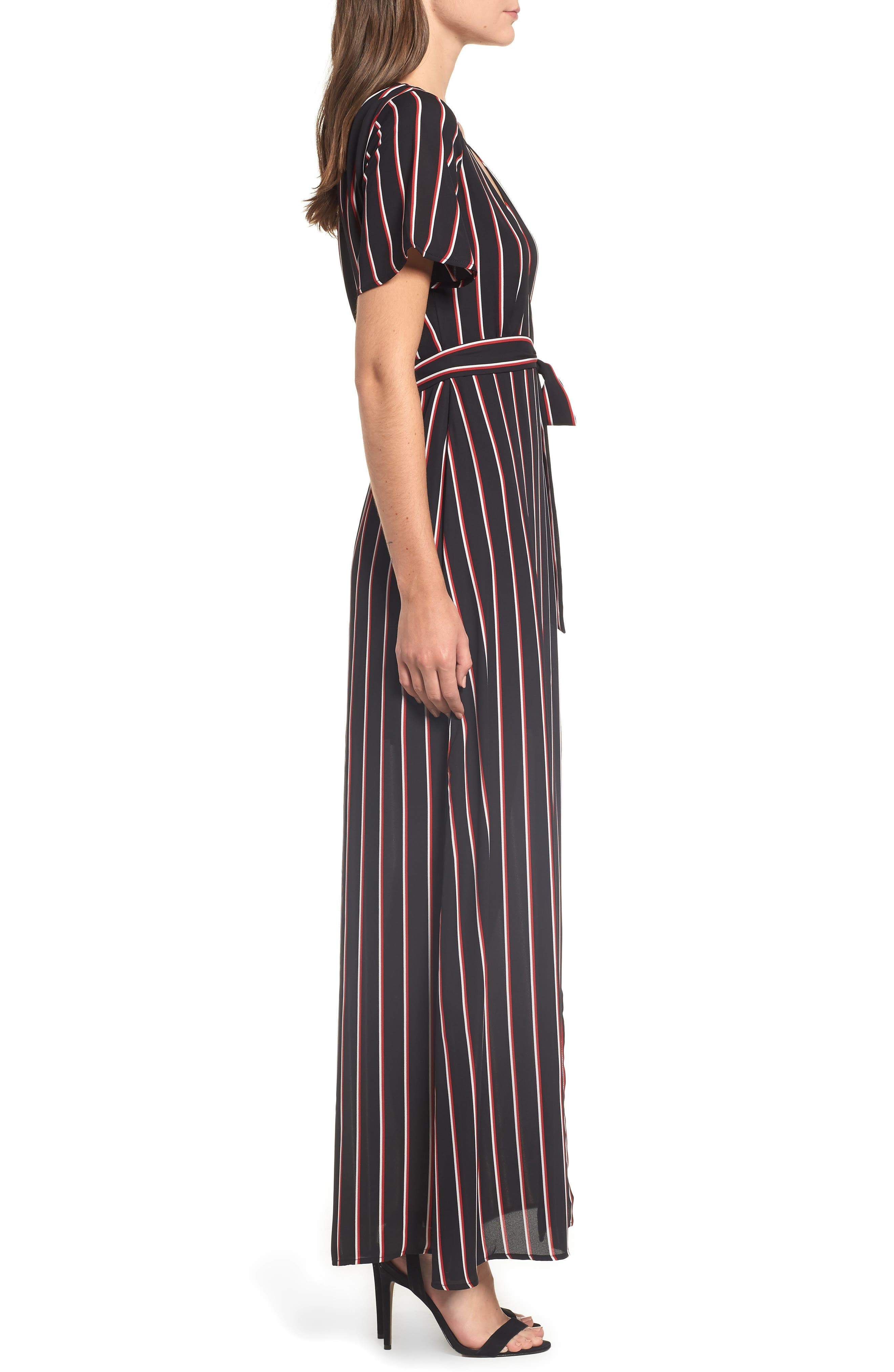 Wrap Maxi Dress,                             Alternate thumbnail 3, color,                             BLACK DOUBLE STRIPE