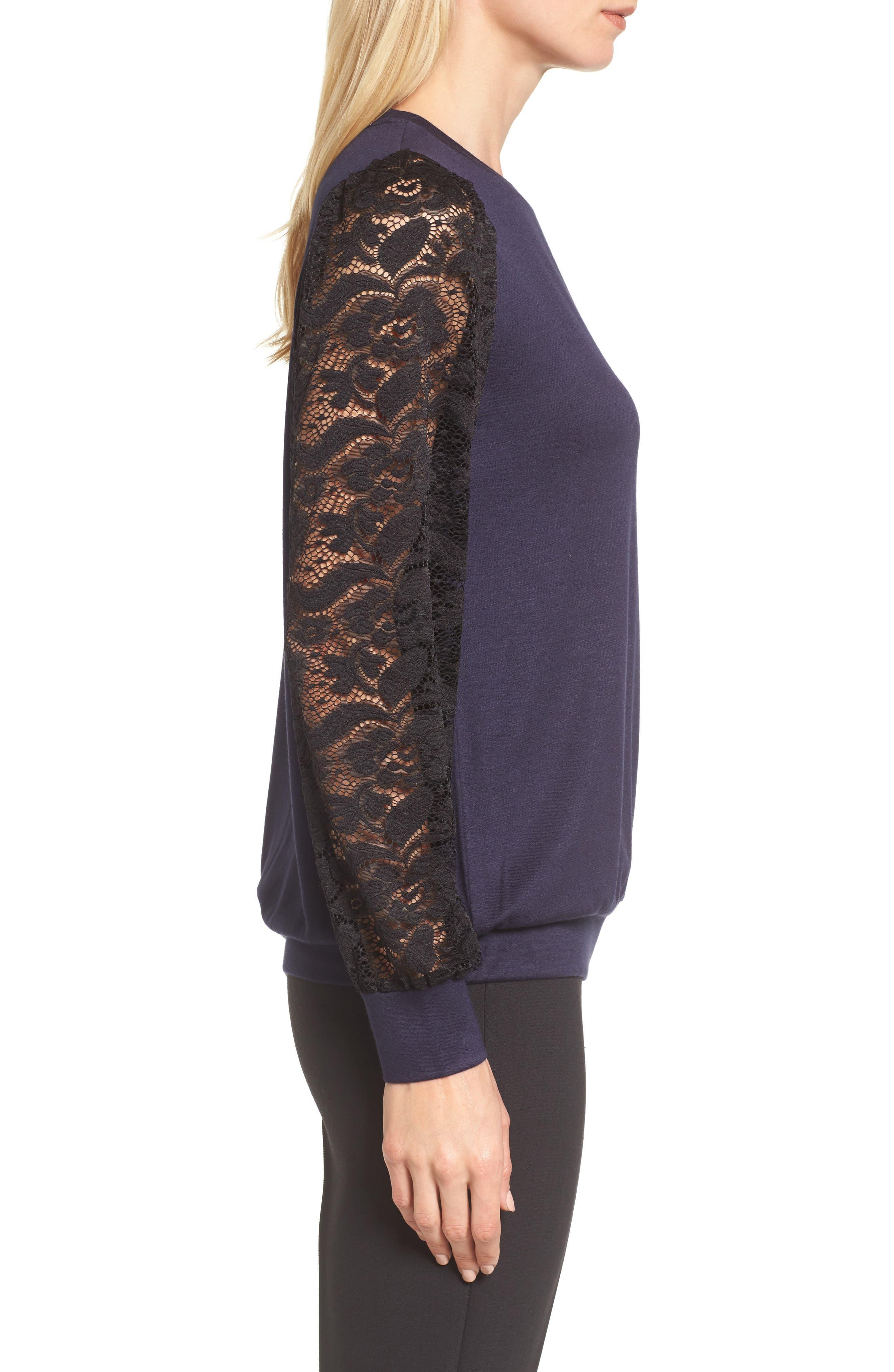 Lace Sleeve Sweatshirt,                             Alternate thumbnail 11, color,