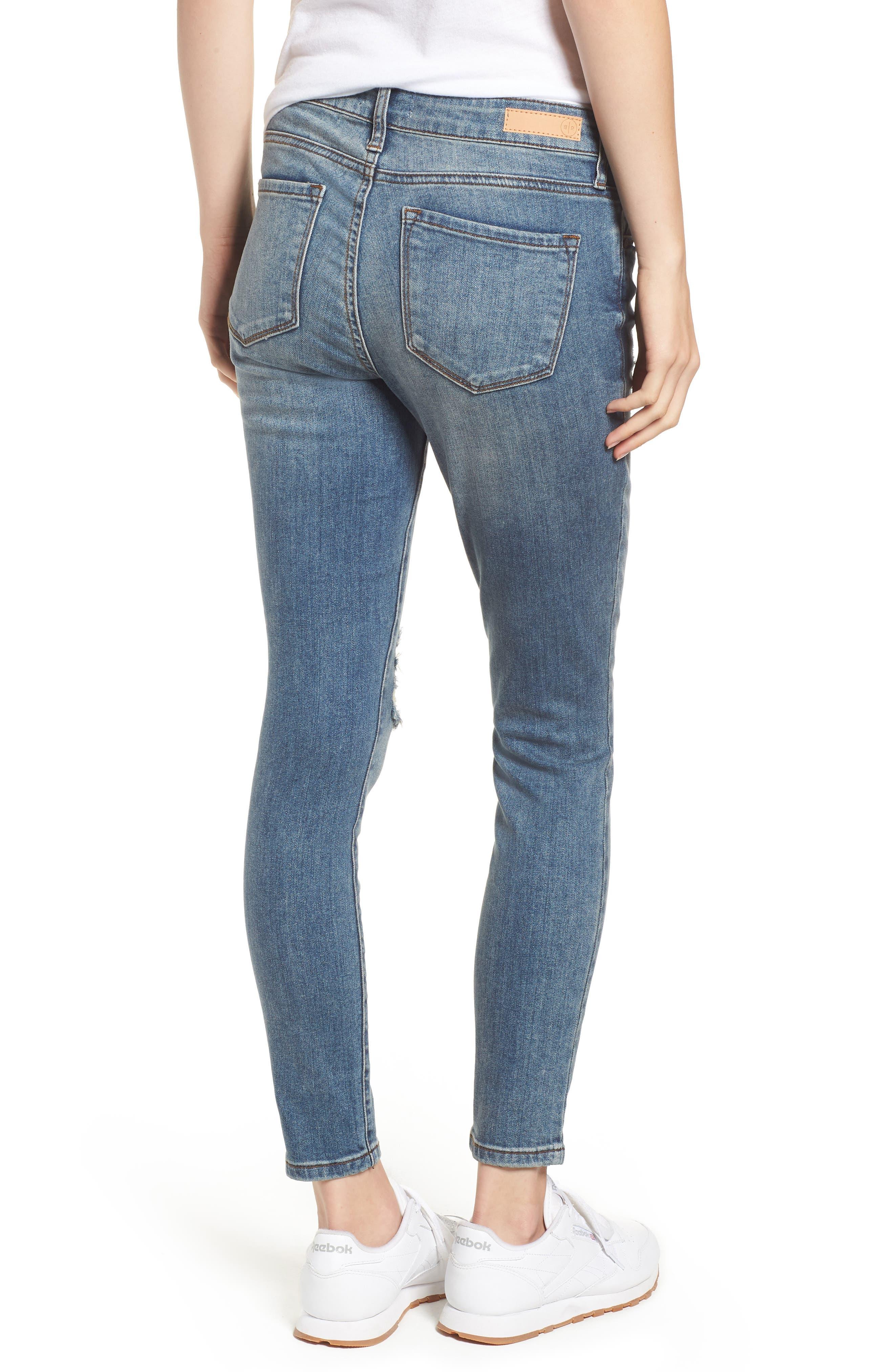 Distressed Skinny Jeans,                             Alternate thumbnail 2, color,                             LIGHT WASH