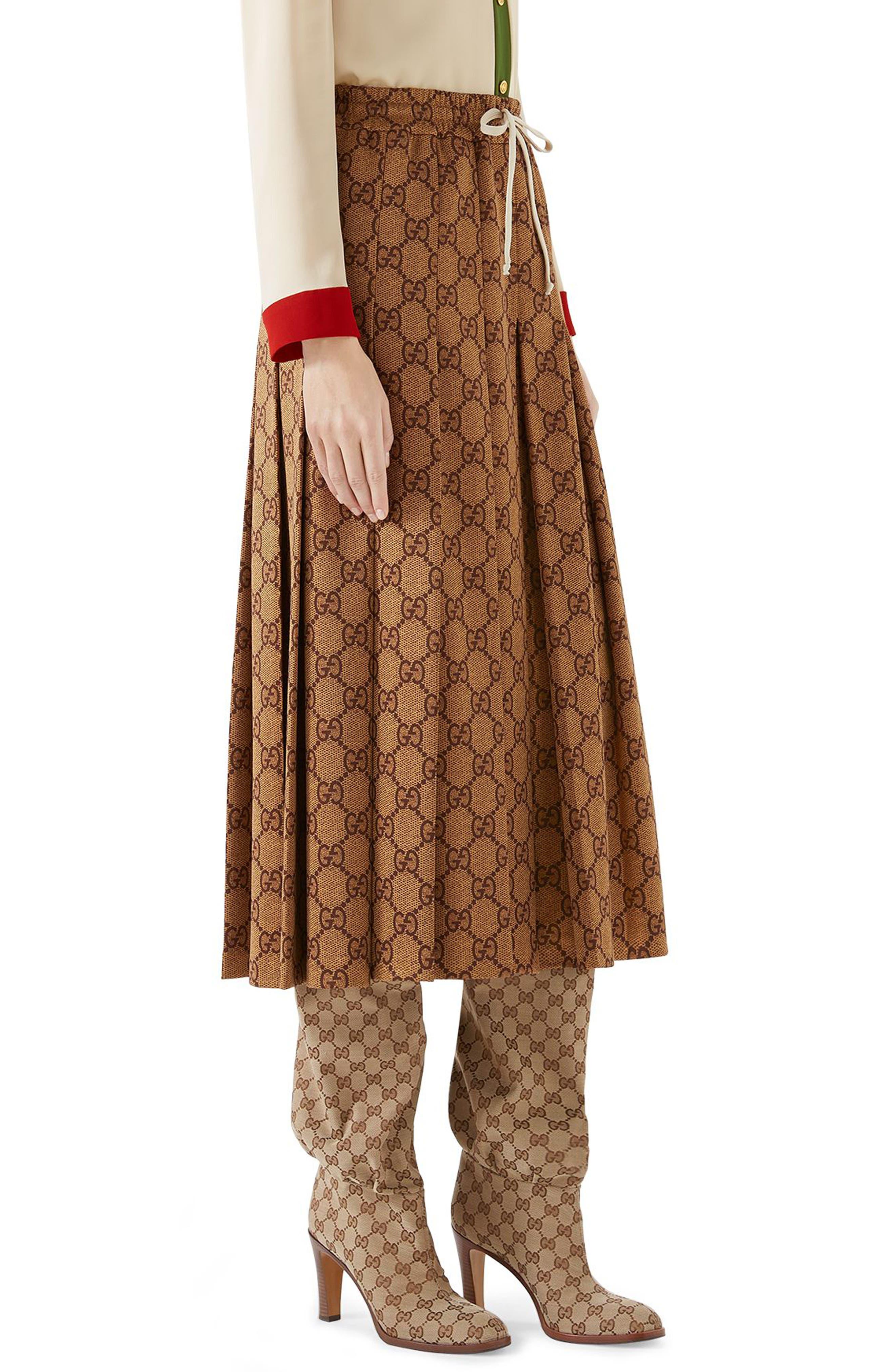 GG Print Pleated Midi Skirt,                             Alternate thumbnail 3, color,                             VINTAGE CAMEL