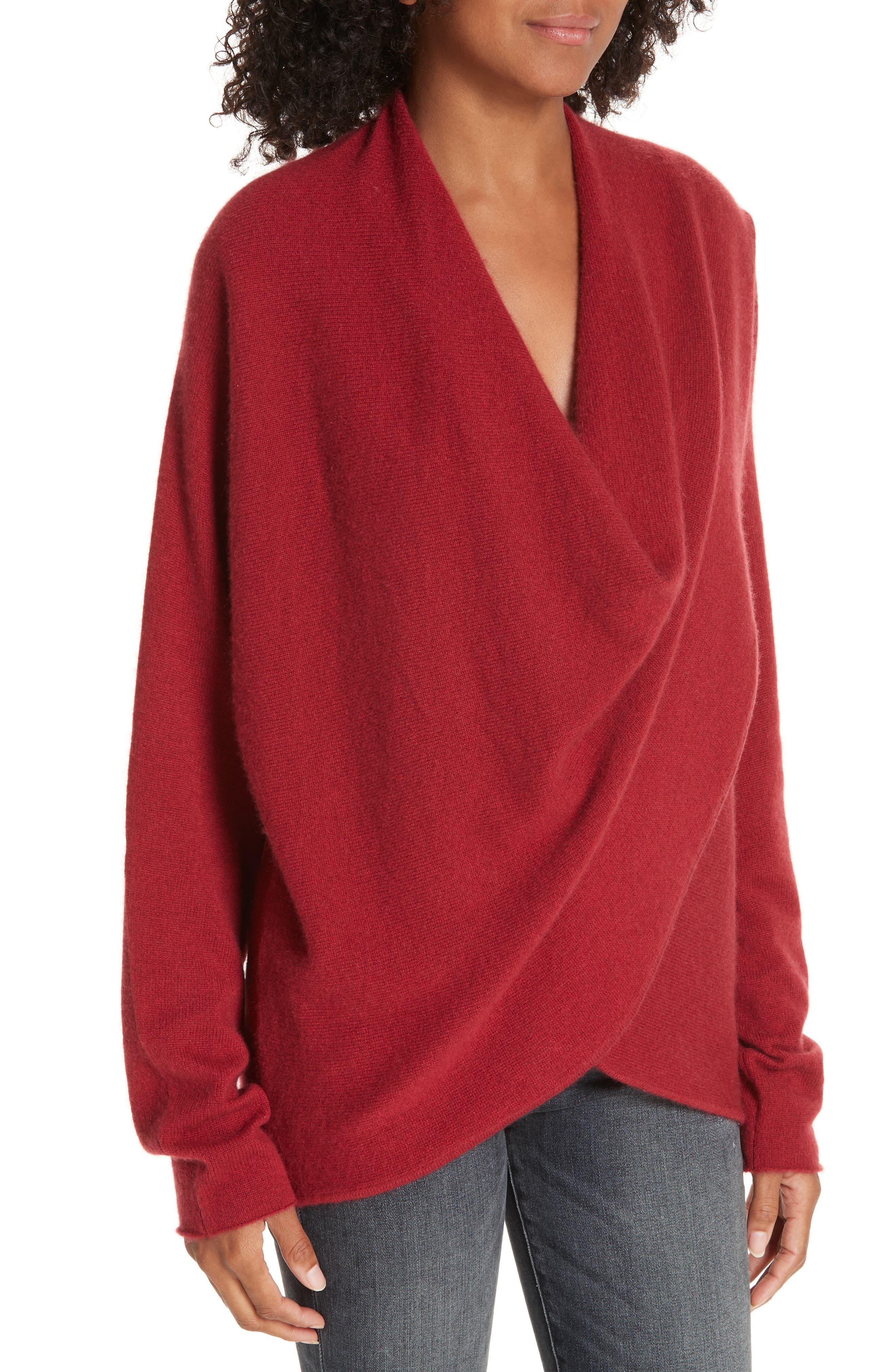 BROCHU WALKER,                             Clea Cashmere Wrap Sweater,                             Alternate thumbnail 4, color,                             TANGIER