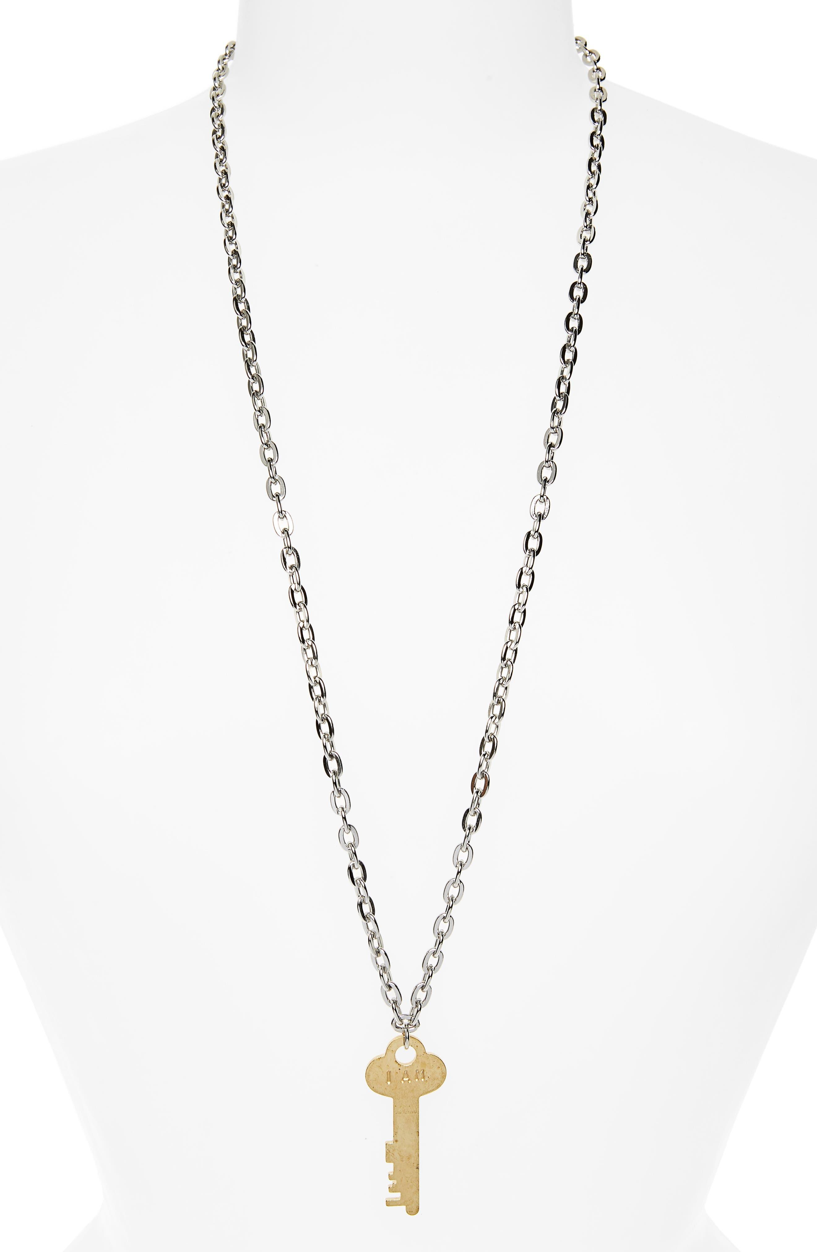 I Am Brave Key Charm Necklace,                         Main,                         color,