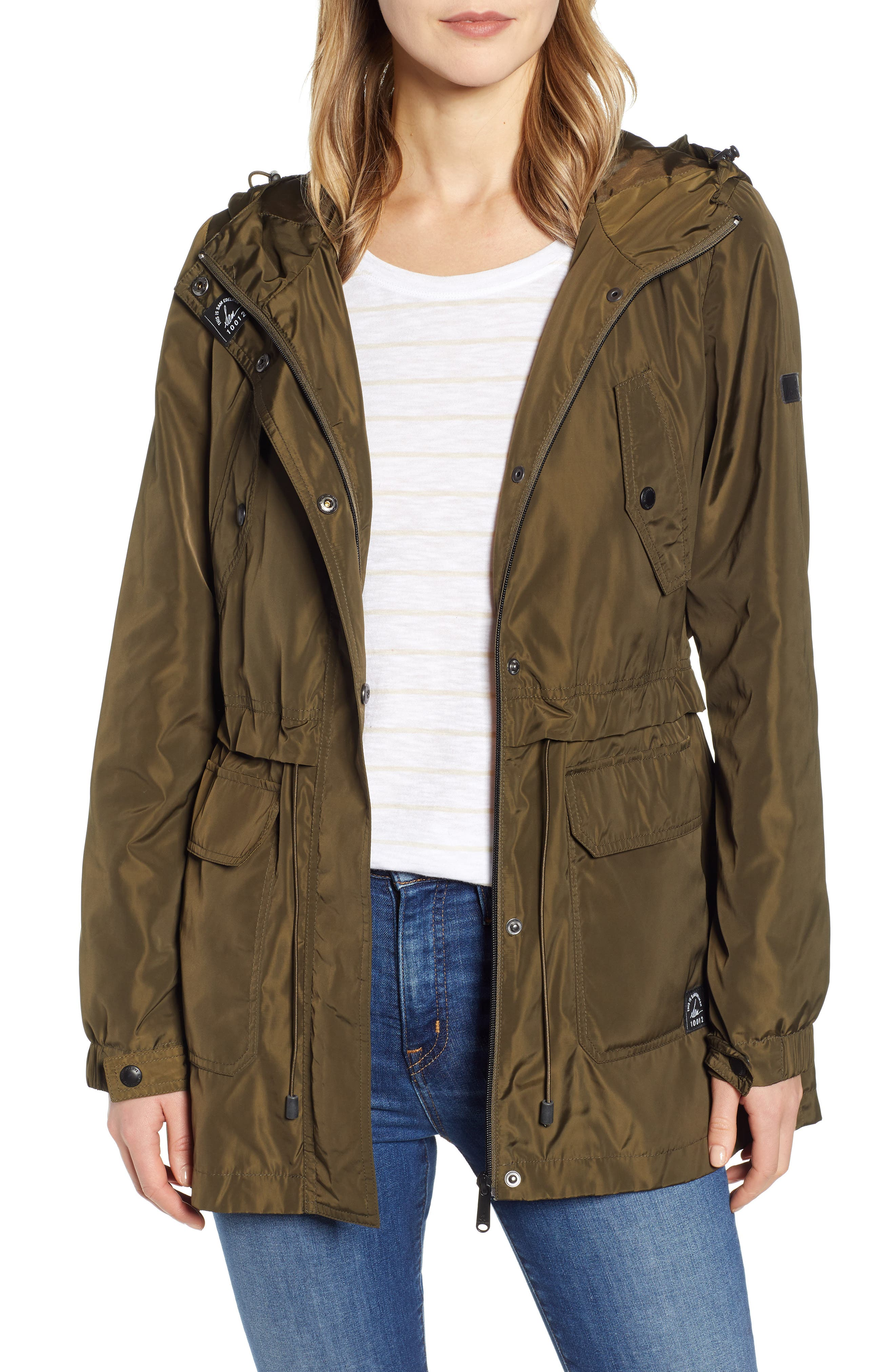 Hooded Water Resistant Parka, Main, color, LODEN