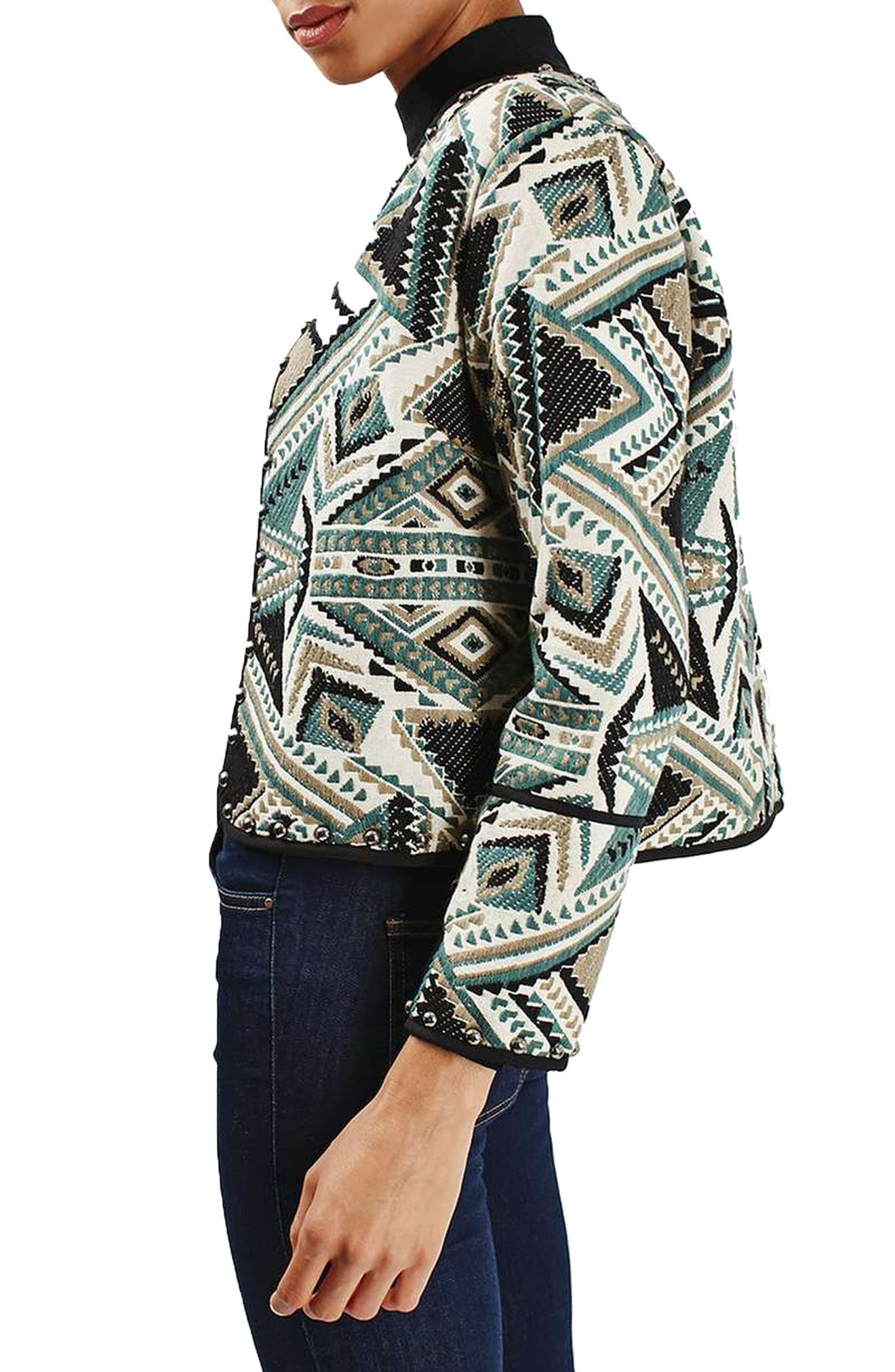 Studded Embroidered Jacket,                             Alternate thumbnail 3, color,                             020