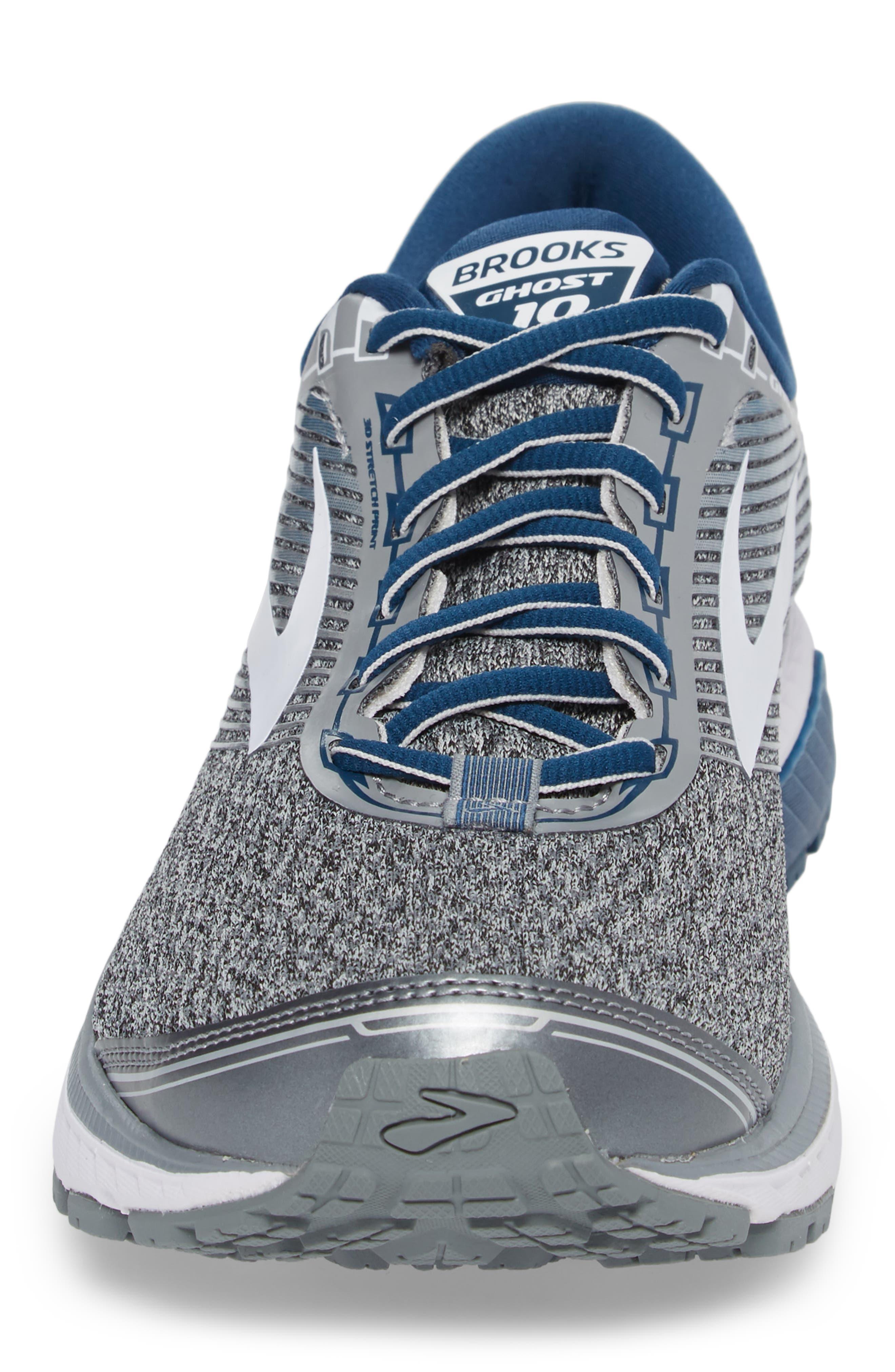 Ghost 10 Running Shoe,                             Alternate thumbnail 4, color,                             SILVER/ BLUE/ WHITE