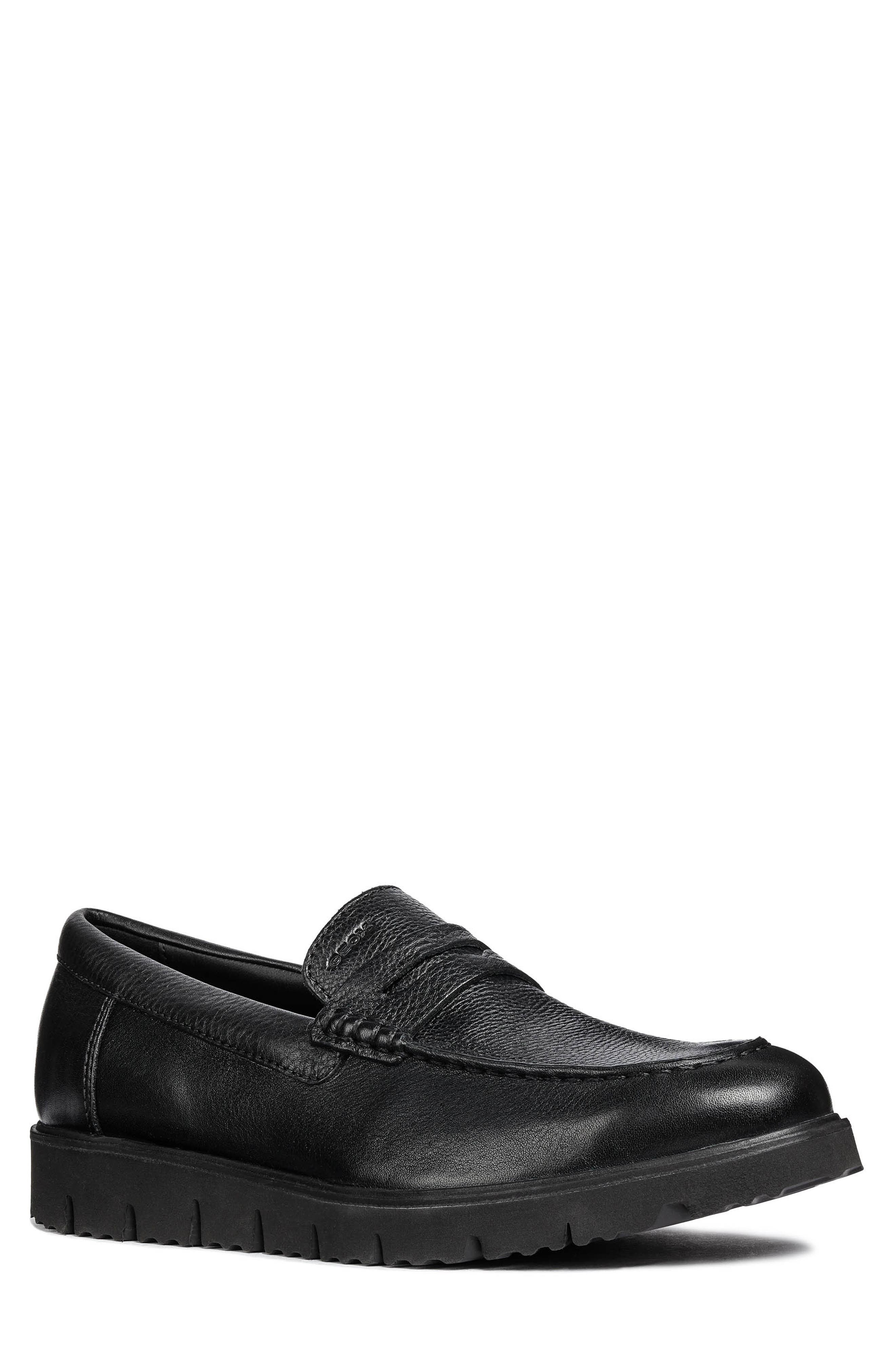 New Pluges 5 Penny Loafer,                             Main thumbnail 1, color,                             BLACK LEATHER
